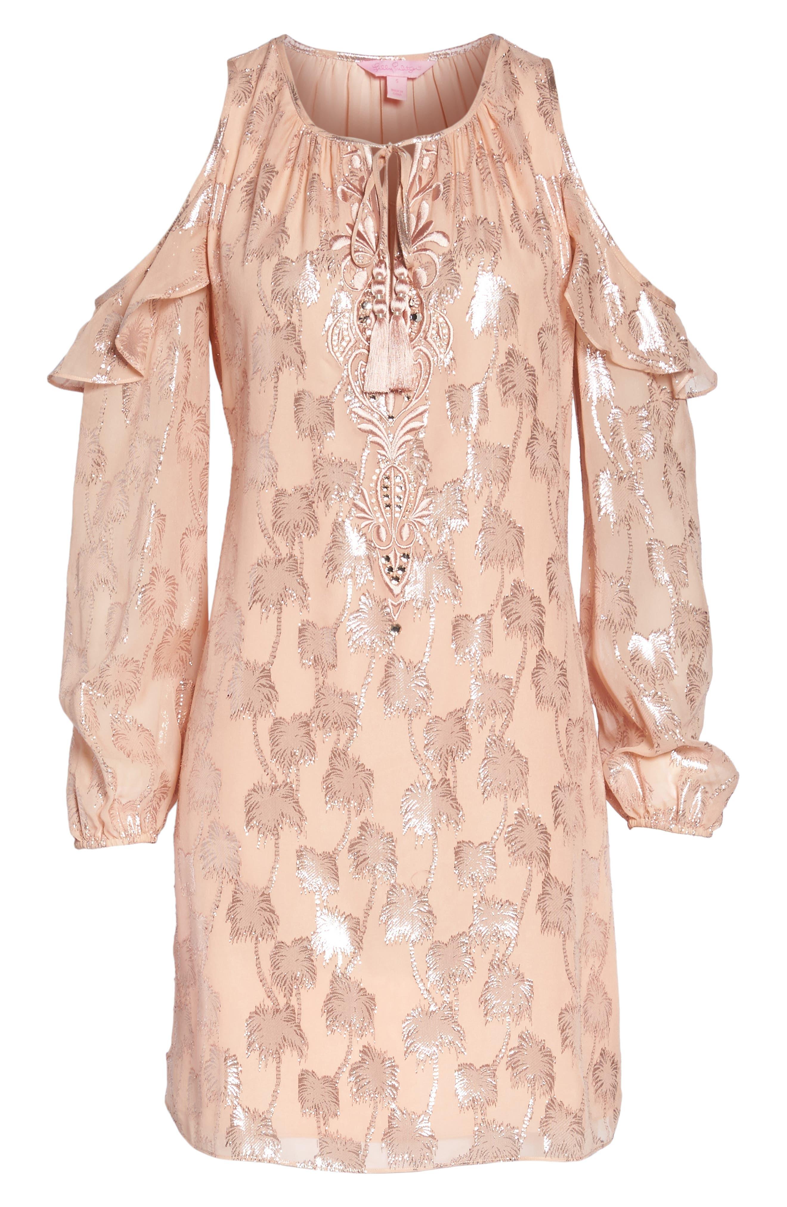 Marlyse Cold Shoulder Silk Dress,                             Alternate thumbnail 6, color,
