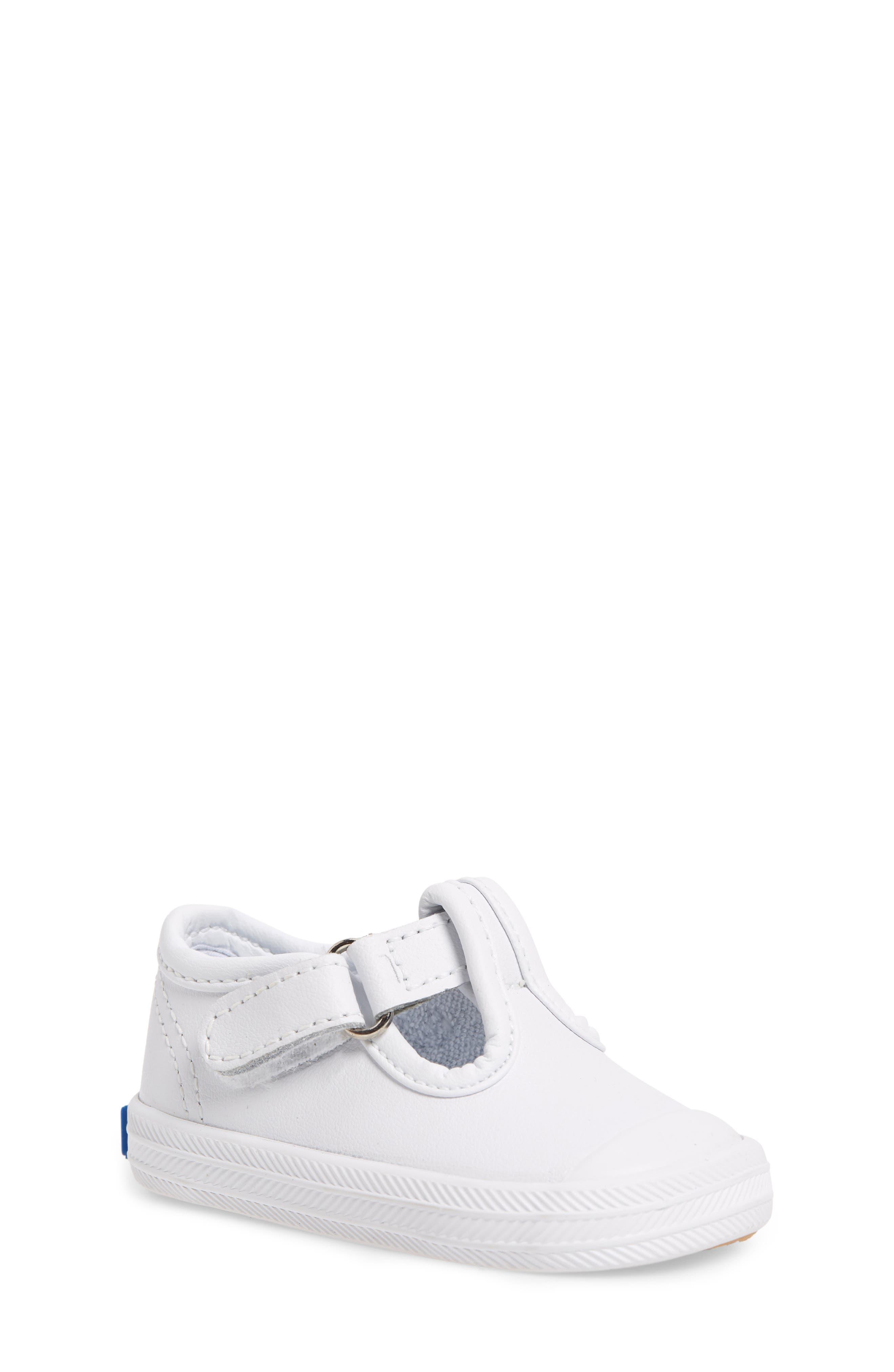 'Champion' T-Strap Shoe,                             Alternate thumbnail 2, color,                             WHITE LEATHER