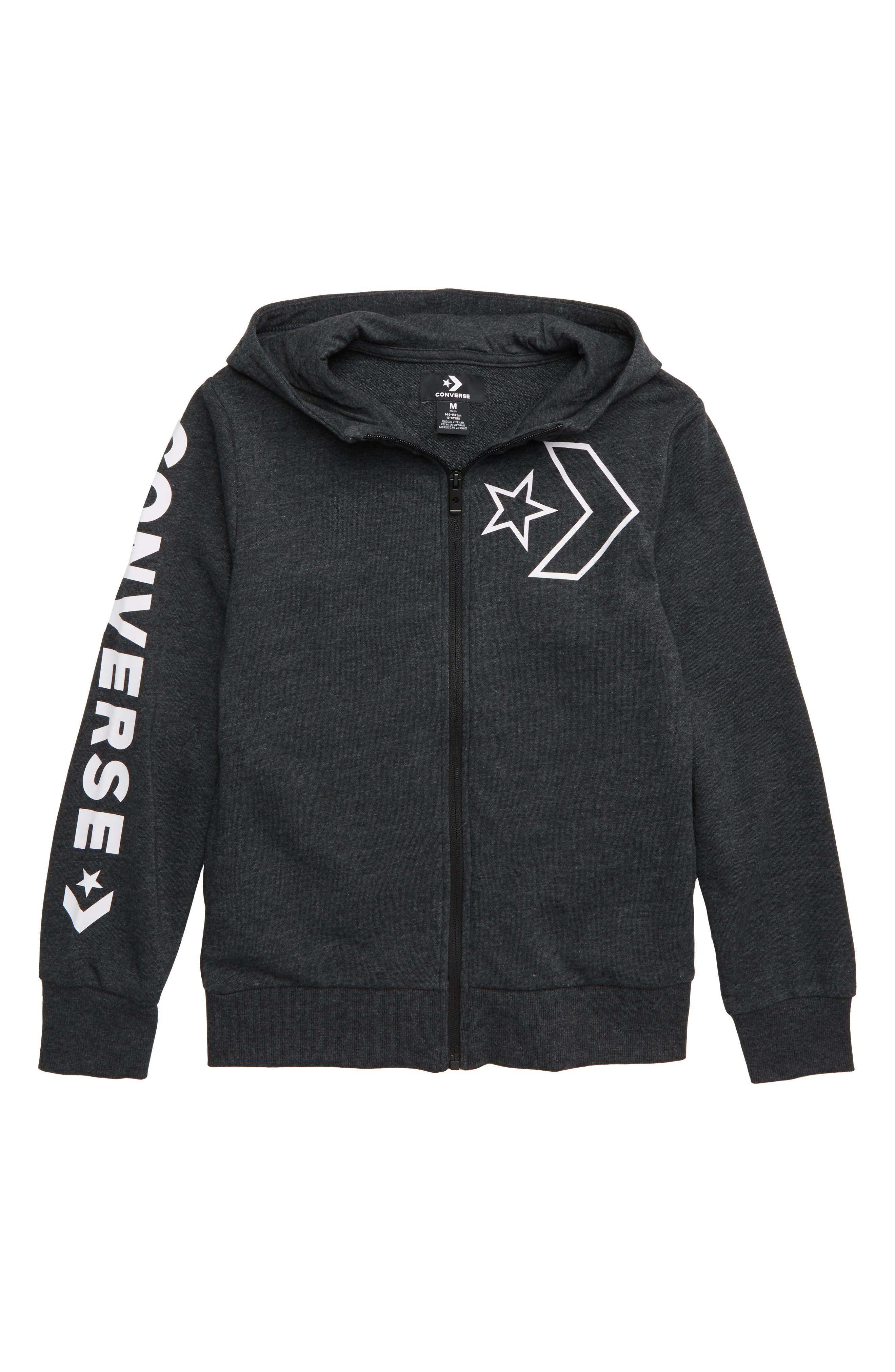 Boys Converse Star Chevron Outline Logo Zip Hoodie Size XL (1315y)  Blue