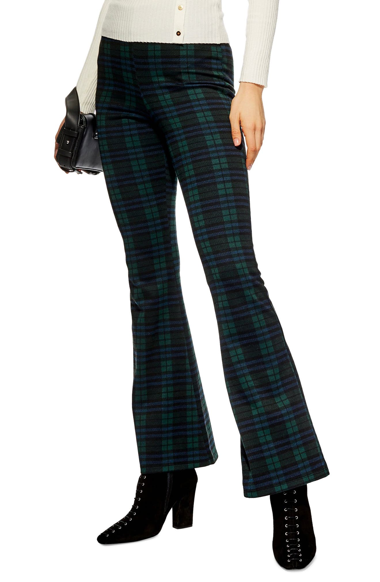 Topshop Plaid Flare Pants, Blue