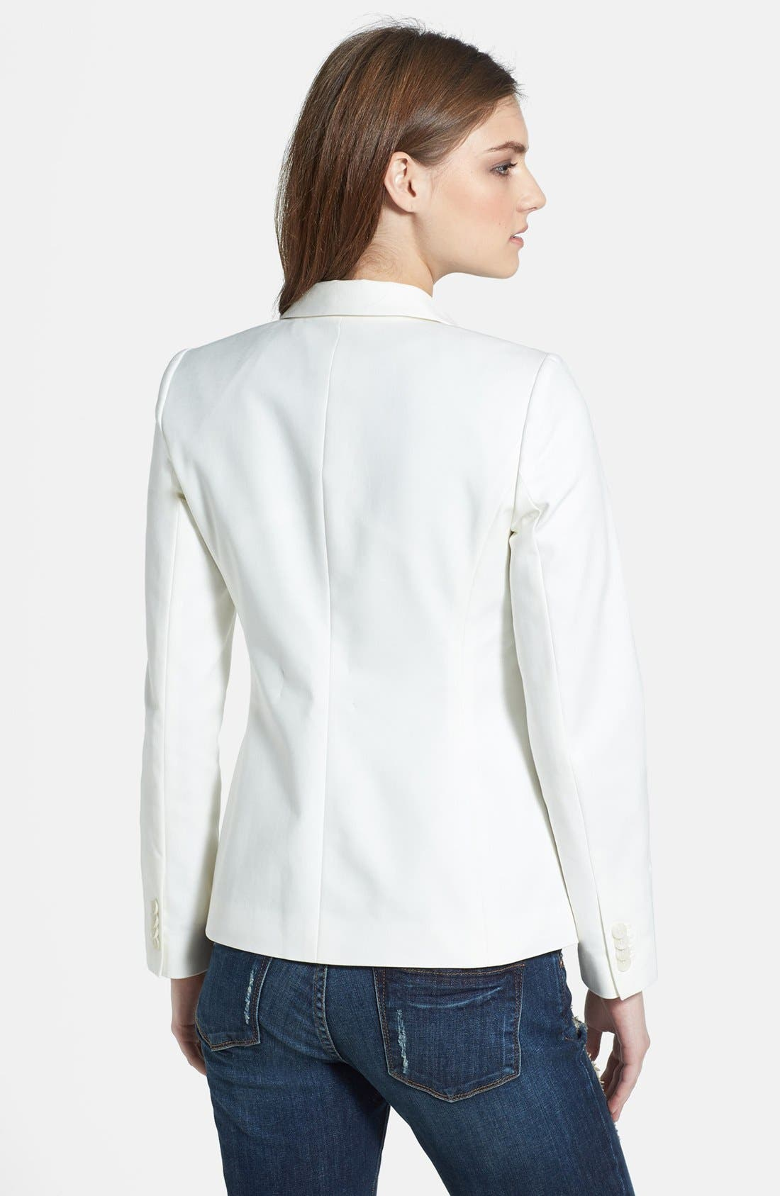 Stretch Cotton One-Button Blazer,                             Alternate thumbnail 2, color,                             NEW IVORY