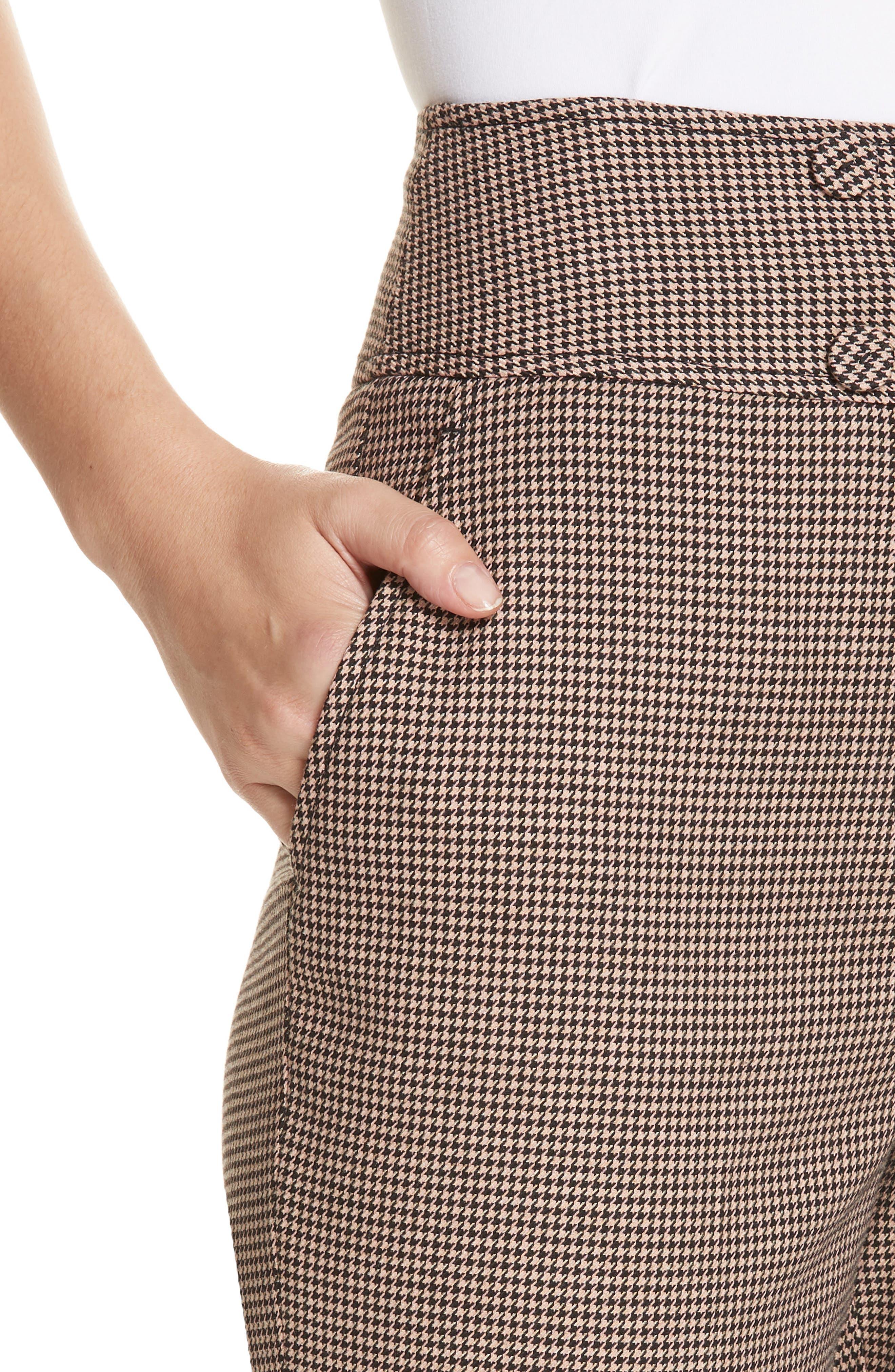 Houndstooth Check Stretch Cotton Blend Pants,                             Alternate thumbnail 4, color,                             CAMEL/ BLACK