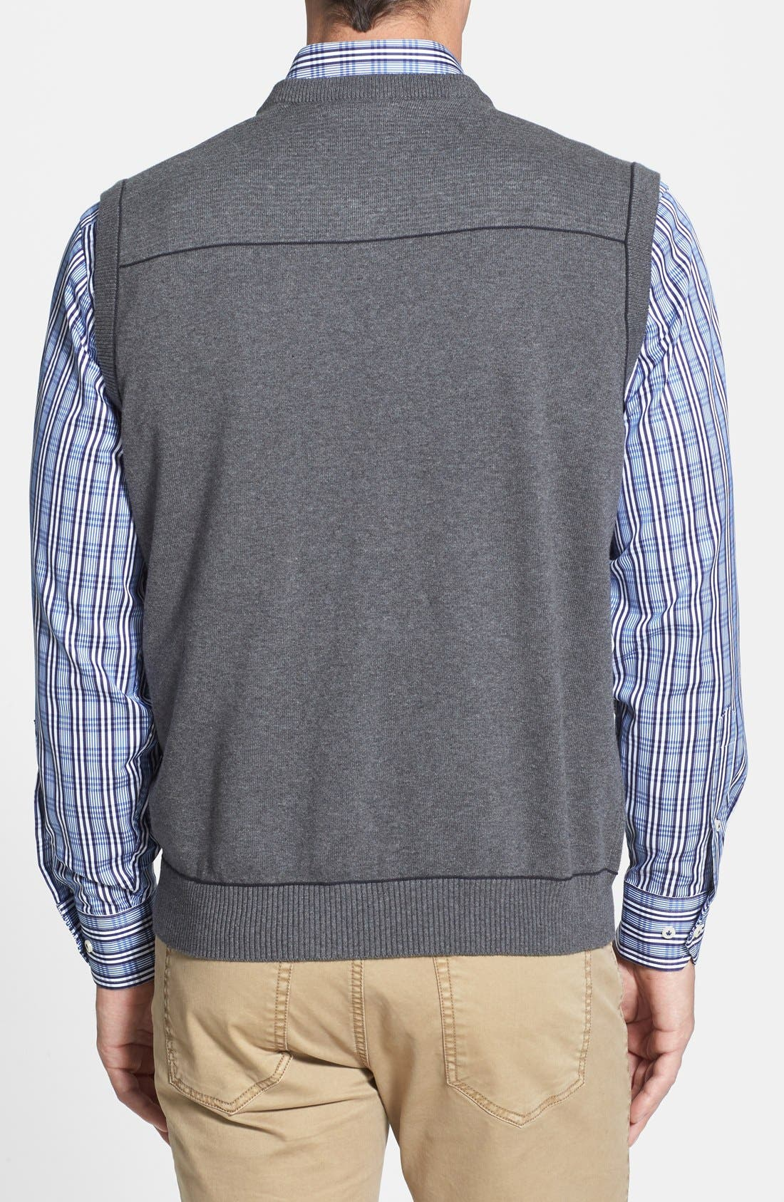 Broadview V-Neck Sweater Vest,                             Alternate thumbnail 2, color,                             CHARCOAL HEATHER