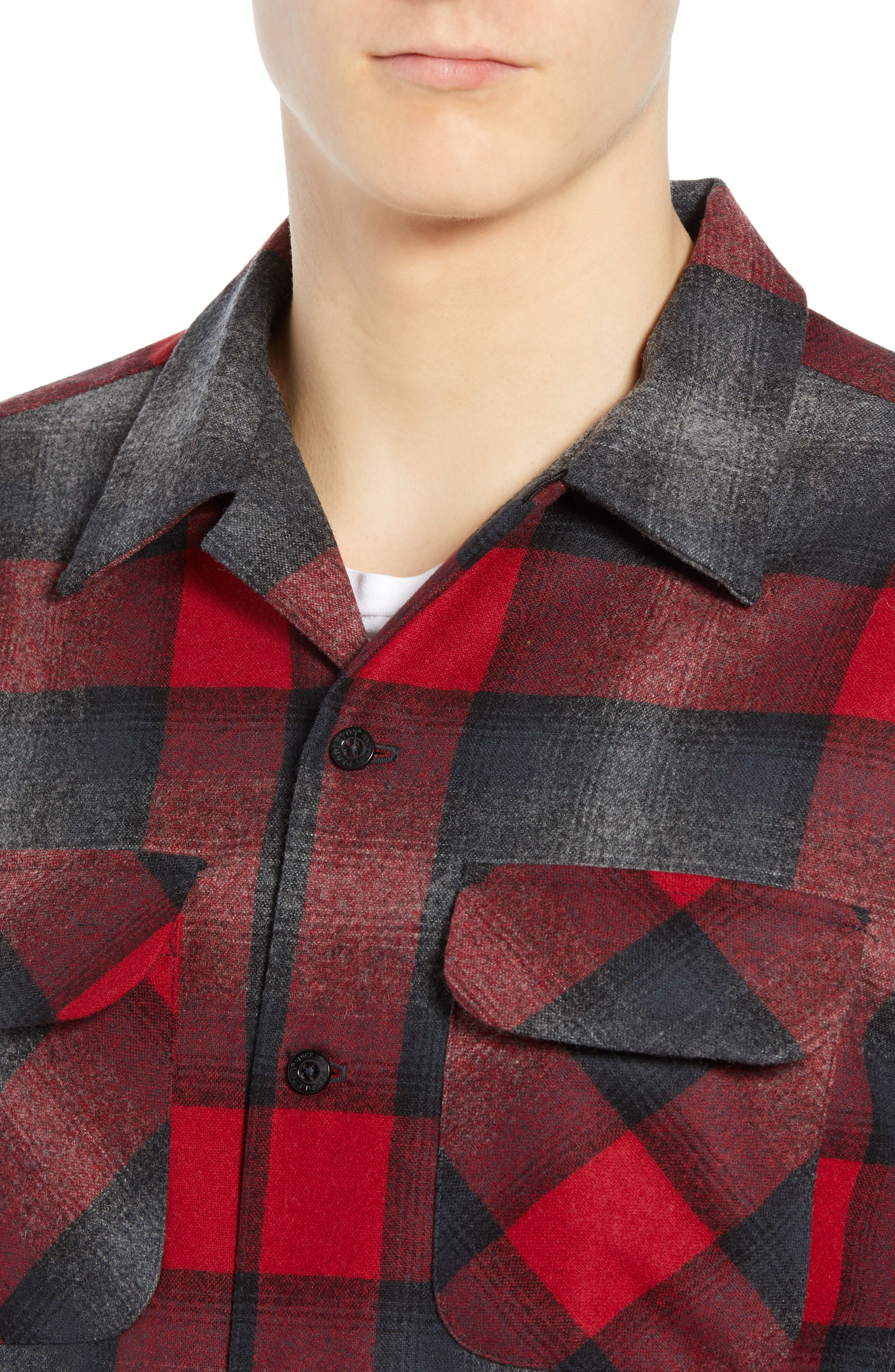 Board Wool Flannel Shirt,                             Alternate thumbnail 2, color,                             BLACK/ GREY MIX/ RED OMBRE