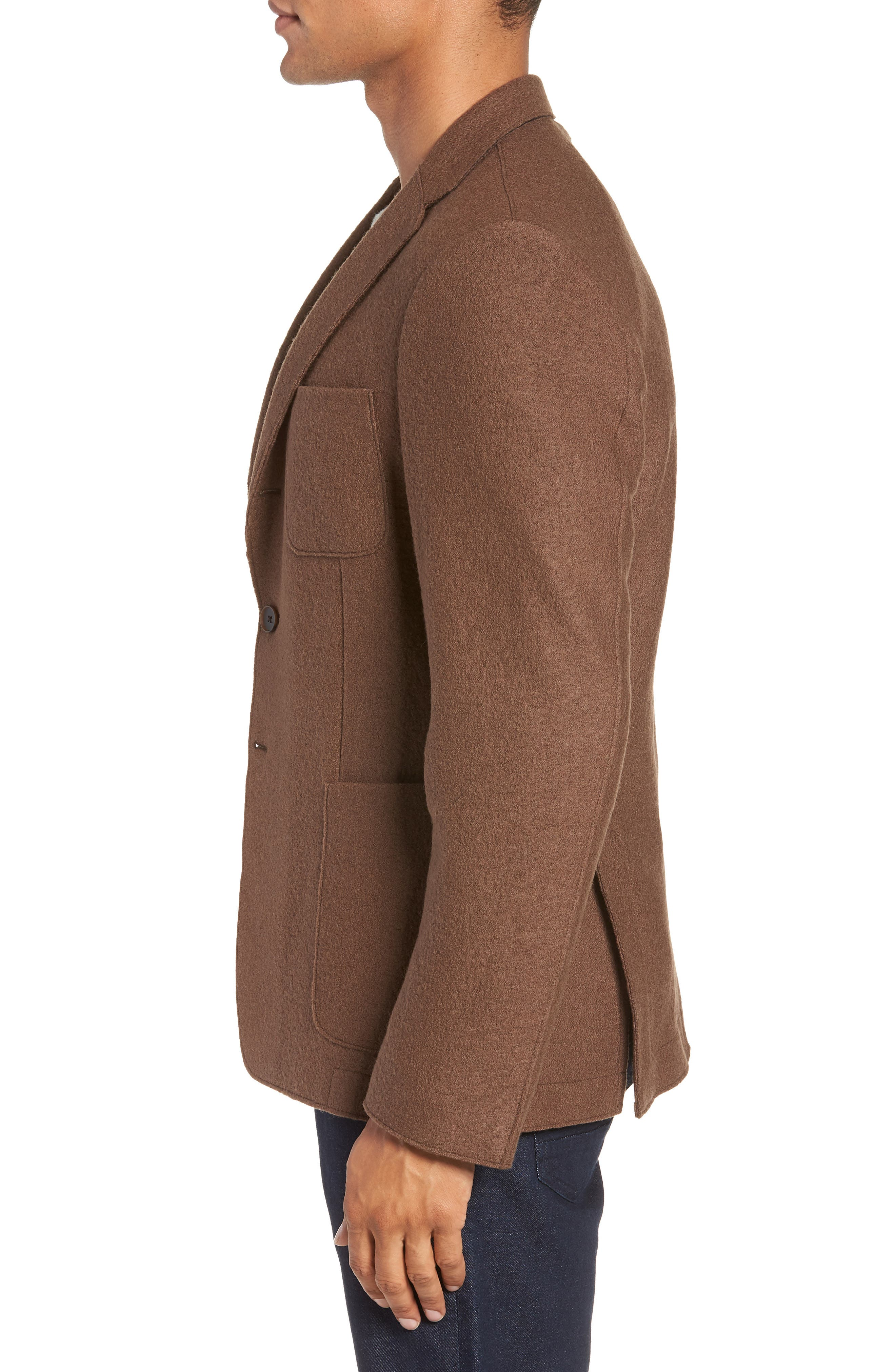Nixan Trim Fit Wool Sport Coat,                             Alternate thumbnail 3, color,                             LIGHT/ PASTEL BROWN