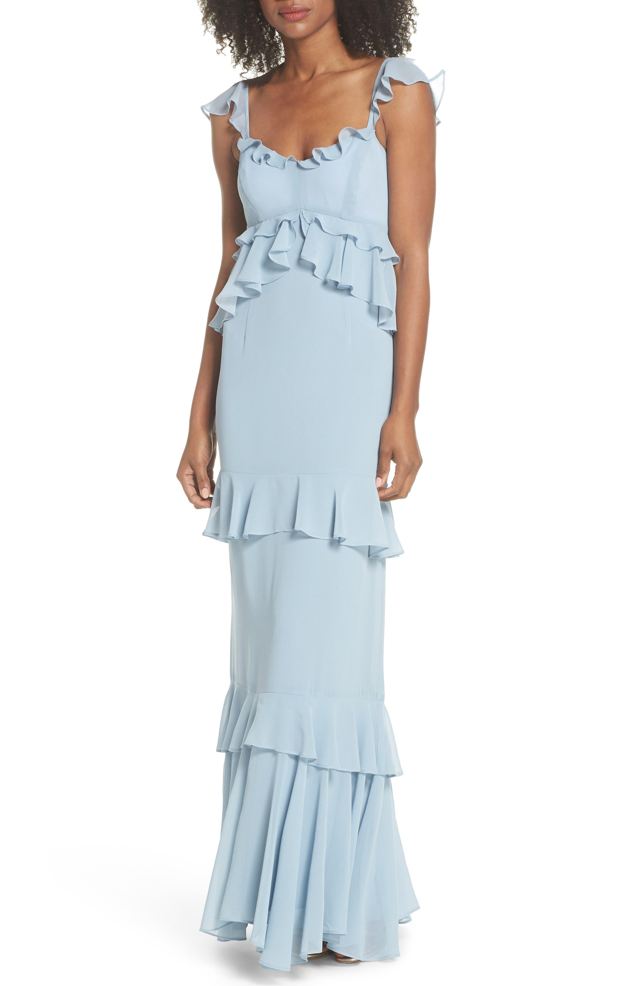 Wayf The Gywneth Ruffle Maxi Gown, Blue