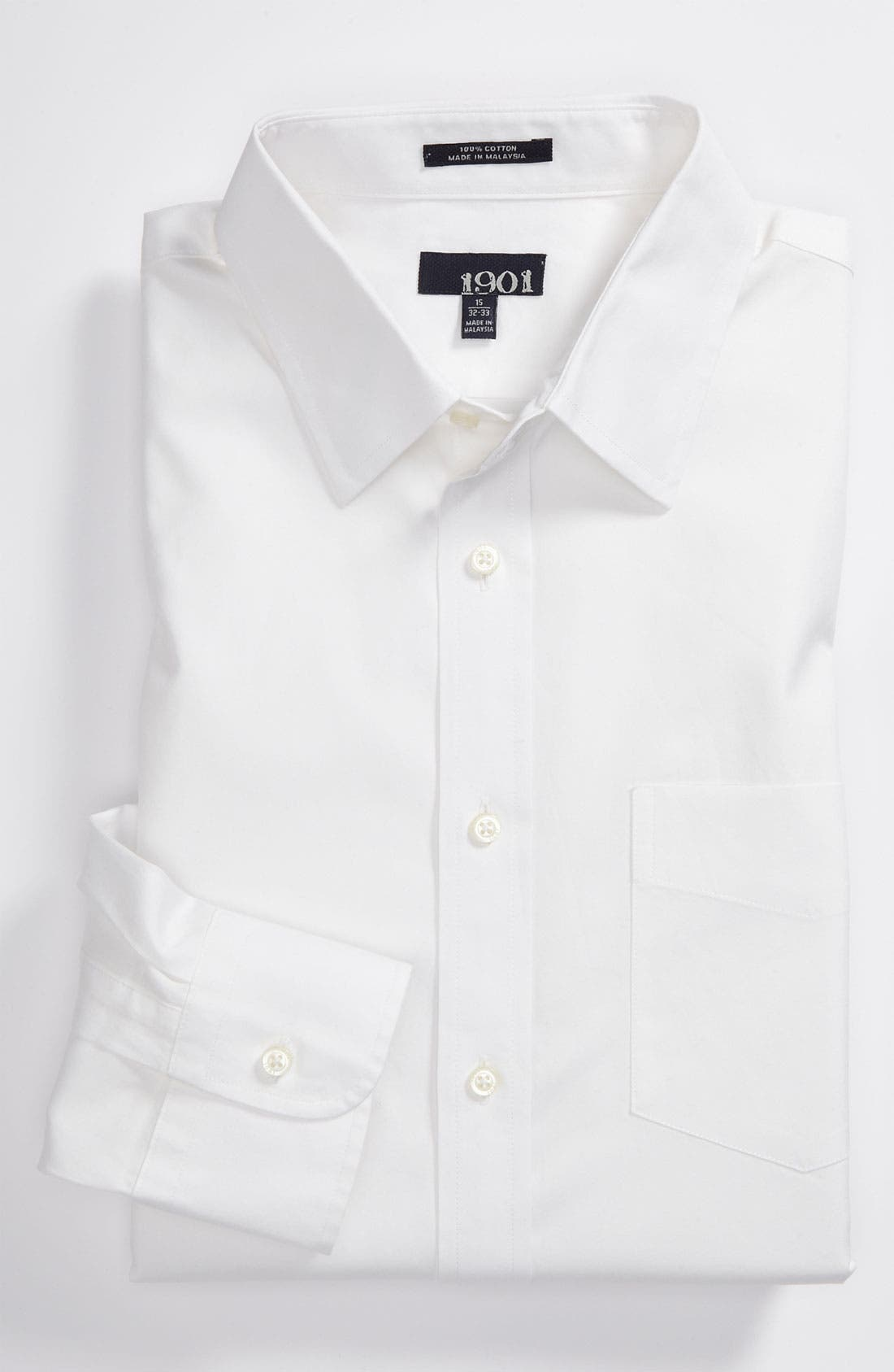 Trim Fit Dress Shirt,                             Main thumbnail 1, color,                             100