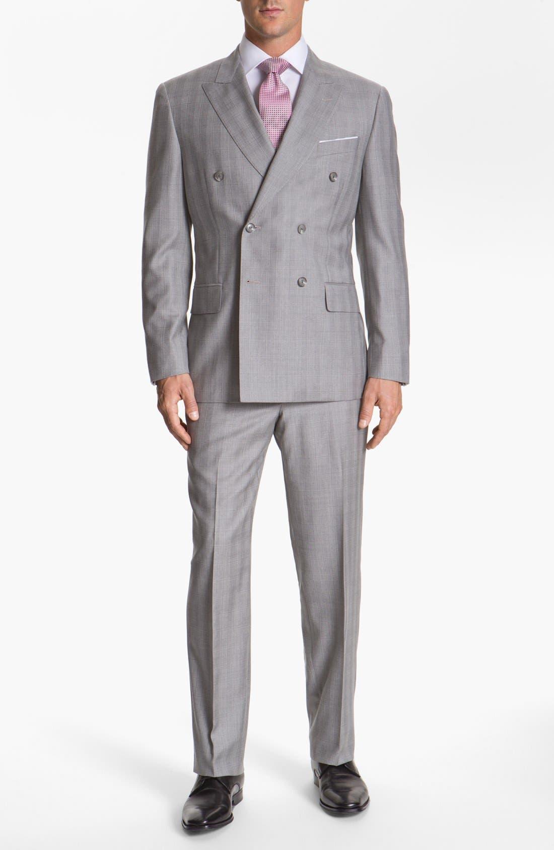 JOSEPH ABBOUD,                             'Platinum' Double Breasted Suit,                             Main thumbnail 1, color,                             050