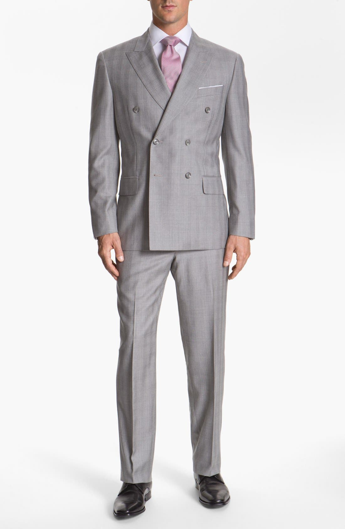 JOSEPH ABBOUD 'Platinum' Double Breasted Suit, Main, color, 050