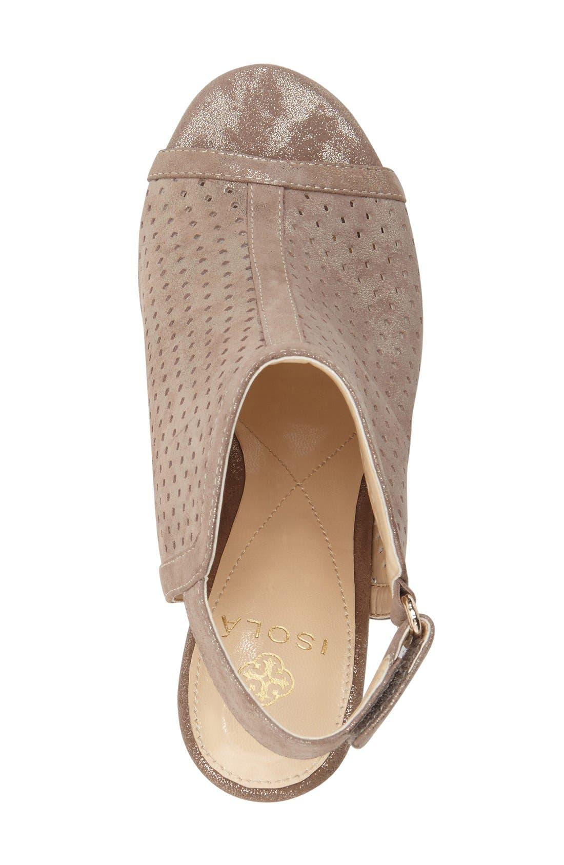 'Lora' Perforated Open-Toe Bootie Sandal,                             Alternate thumbnail 3, color,                             040