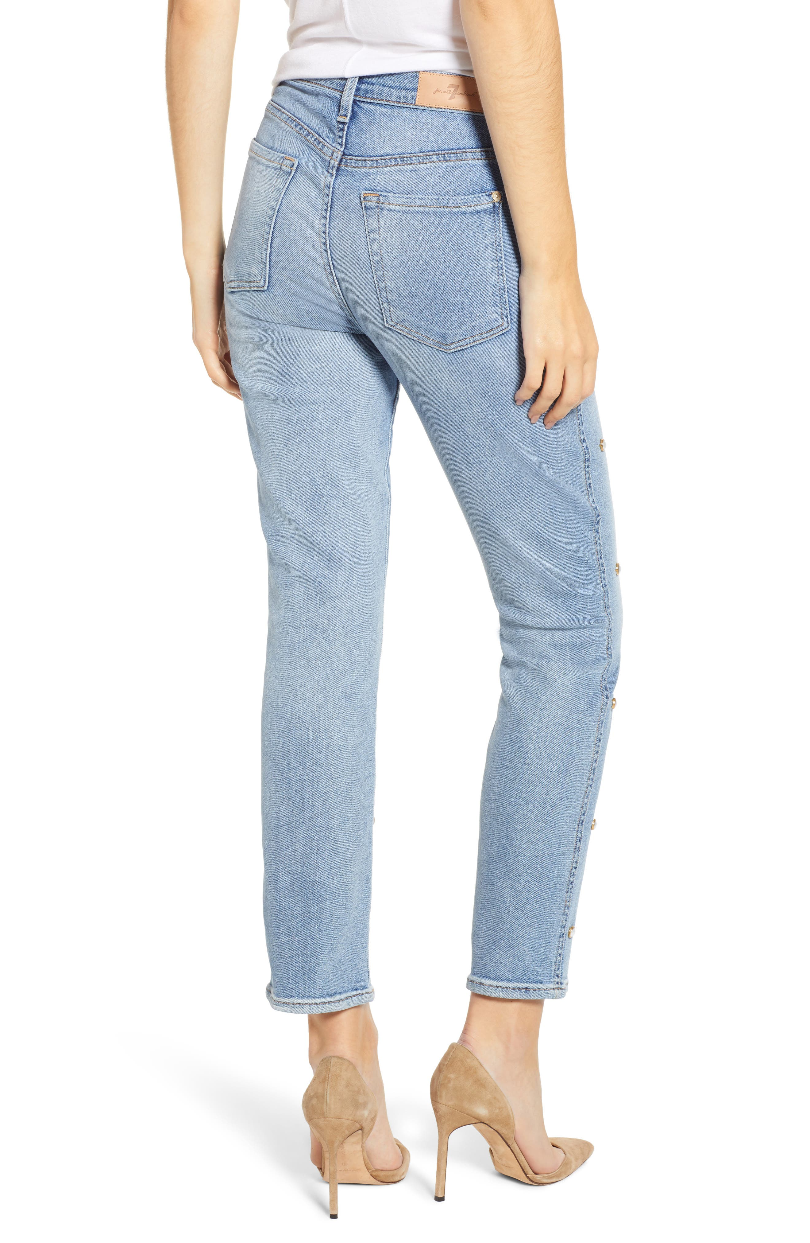 Edie Faux Pearl Detail Ankle Jeans,                             Alternate thumbnail 2, color,                             LUXE VINTAGE FLORA
