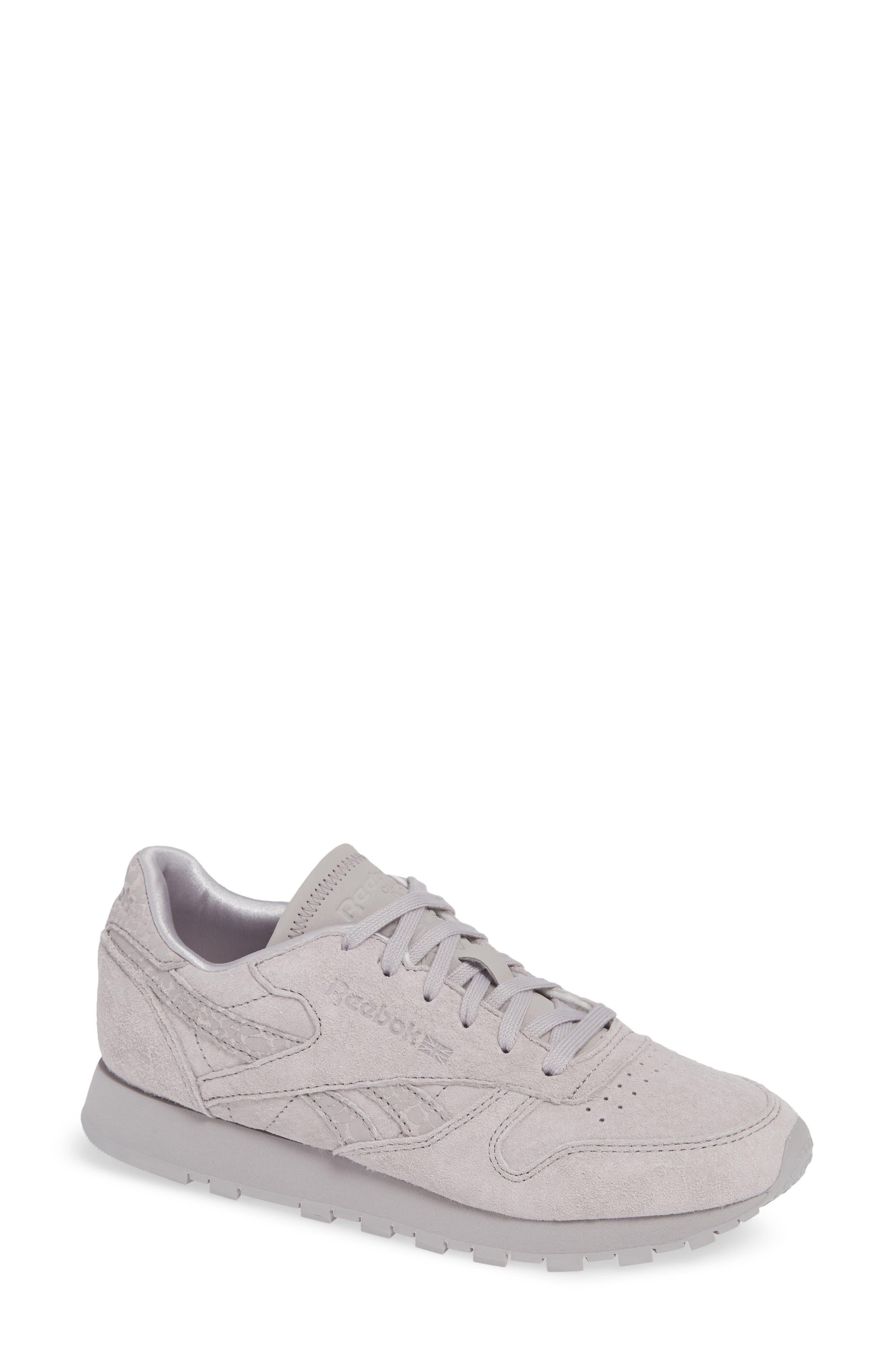 REEBOK,                             Classic Leather Sneaker,                             Main thumbnail 1, color,                             WHISPER GREY
