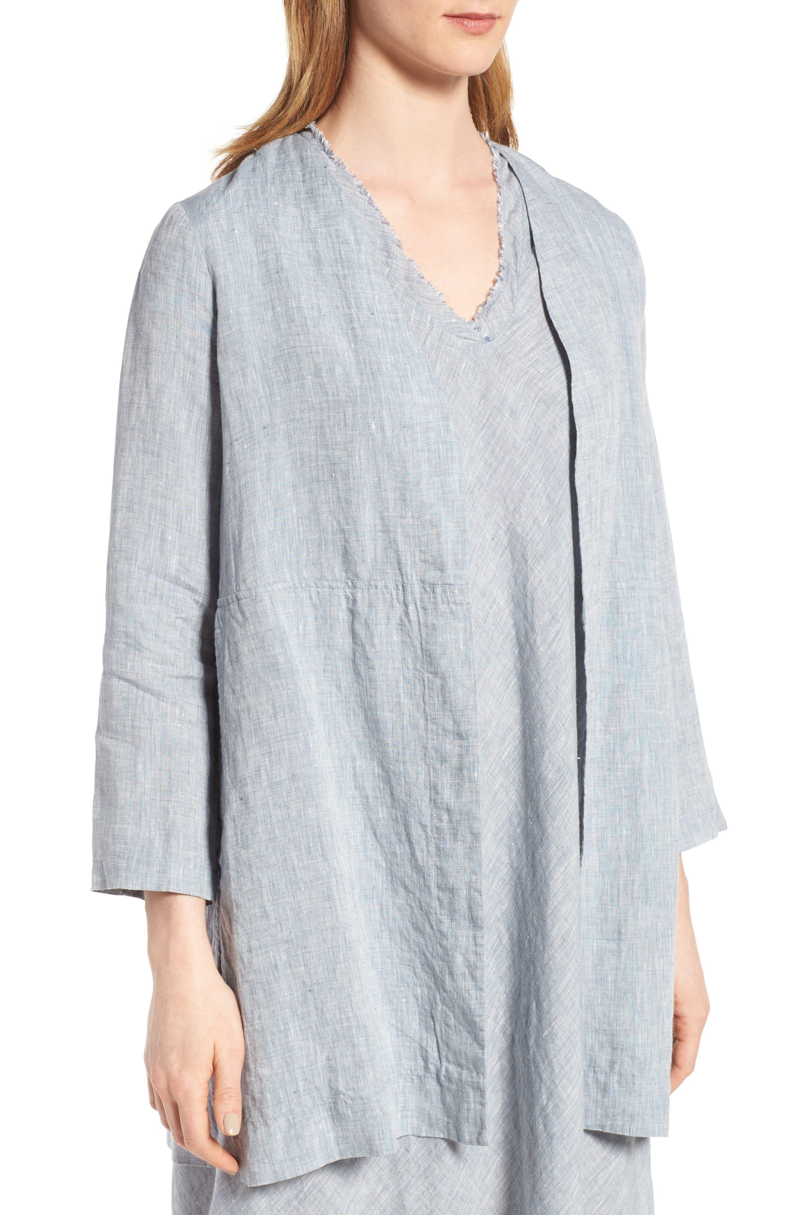 Long Organic Linen Jacket,                             Alternate thumbnail 4, color,                             416