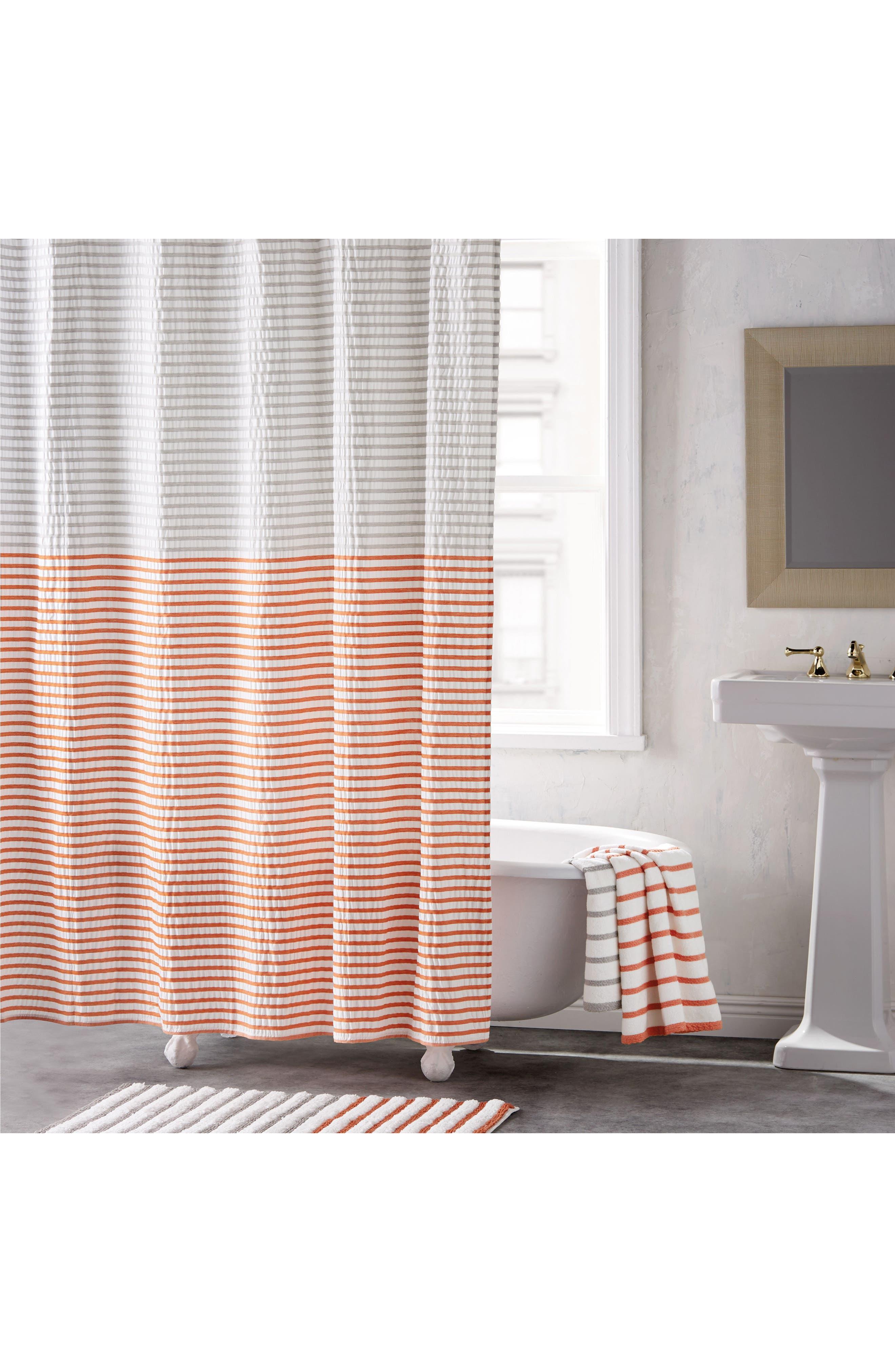 Parson Stripe Shower Curtain,                             Main thumbnail 1, color,                             VERMILLION