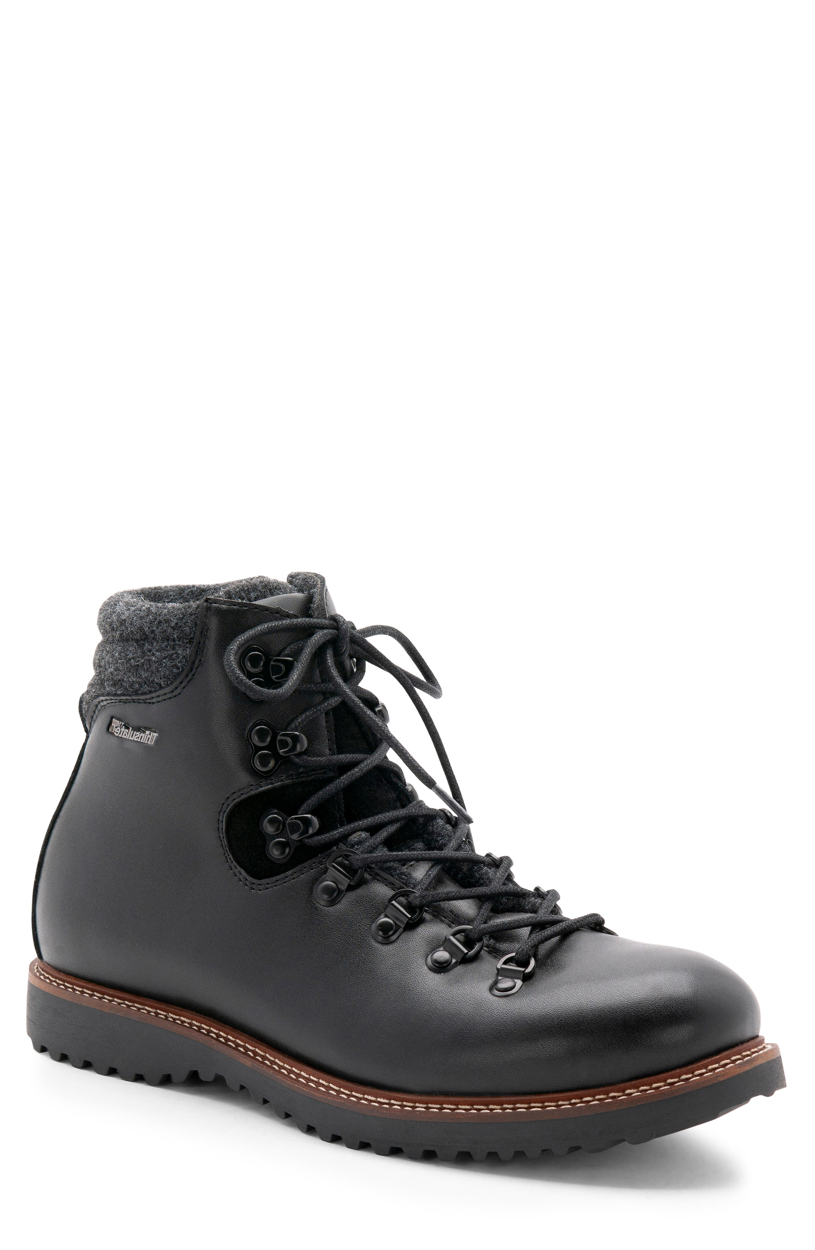 Morgan Waterproof Plain Toe Boot,                             Main thumbnail 1, color,                             BLACK LEATHER
