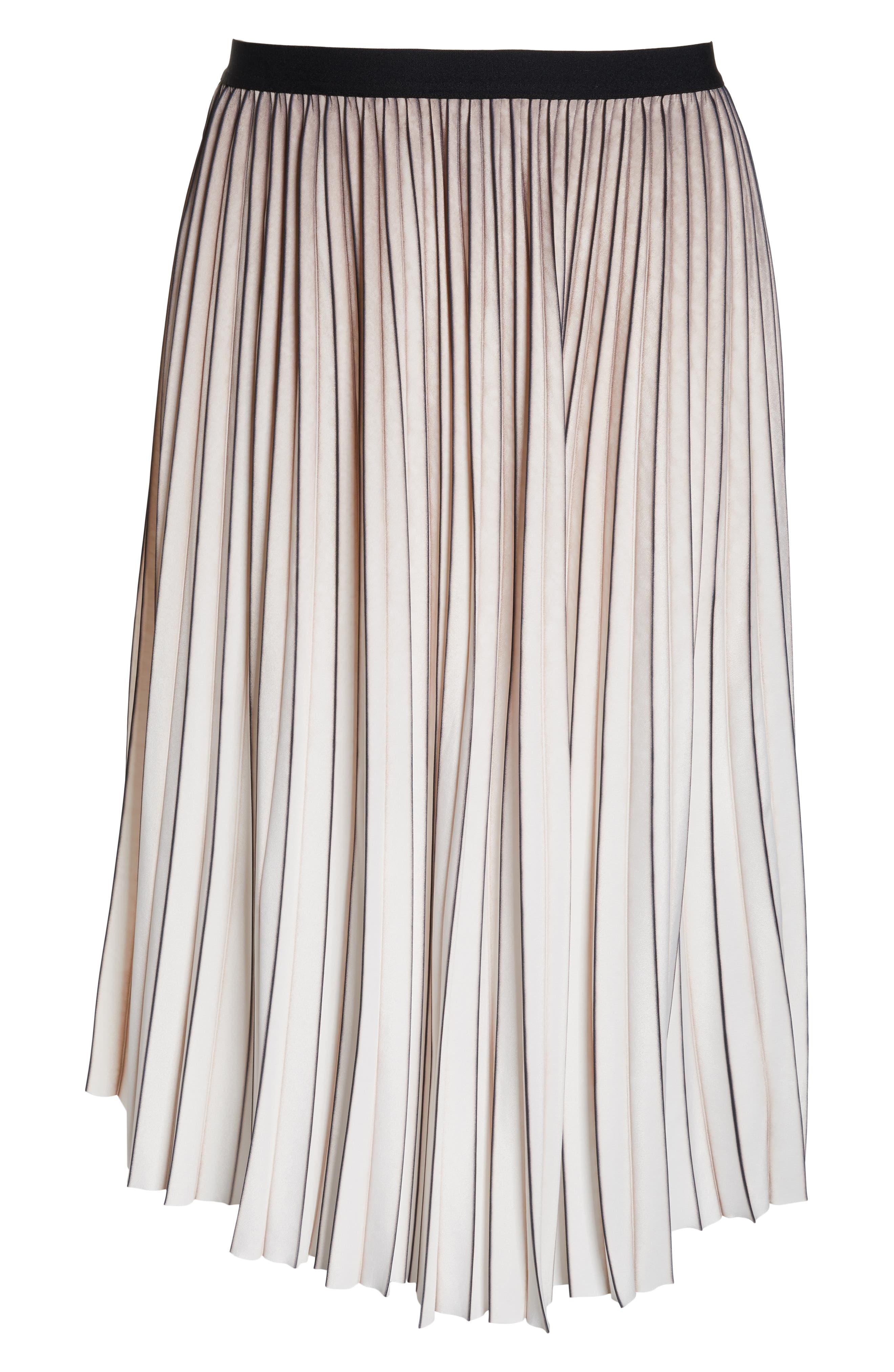 Stripe Pleat Skirt,                             Alternate thumbnail 6, color,                             MULTI