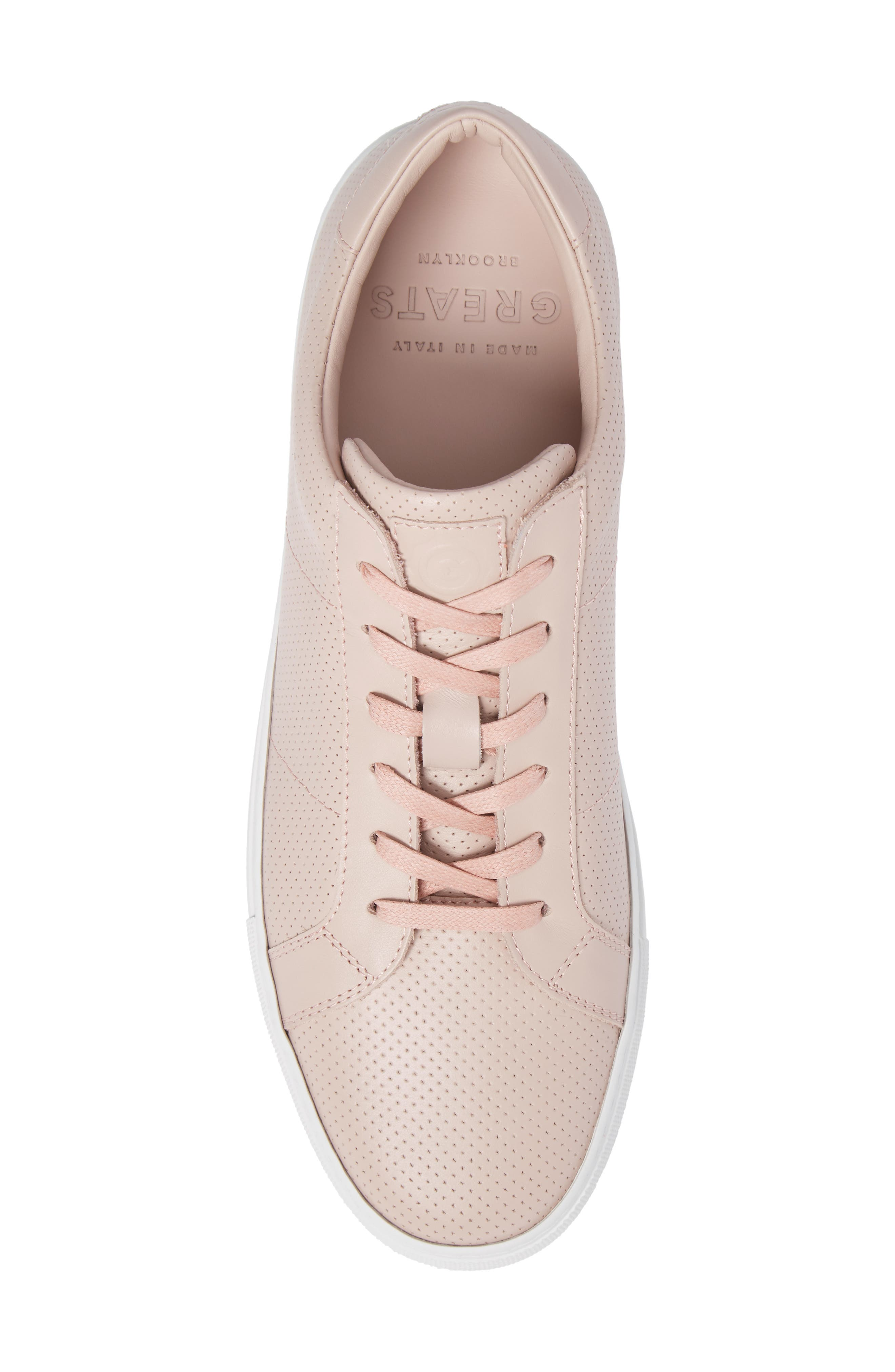 Royale Perforated Low Top Sneaker,                             Alternate thumbnail 5, color,                             BLUSH PERFORATED LEATHER