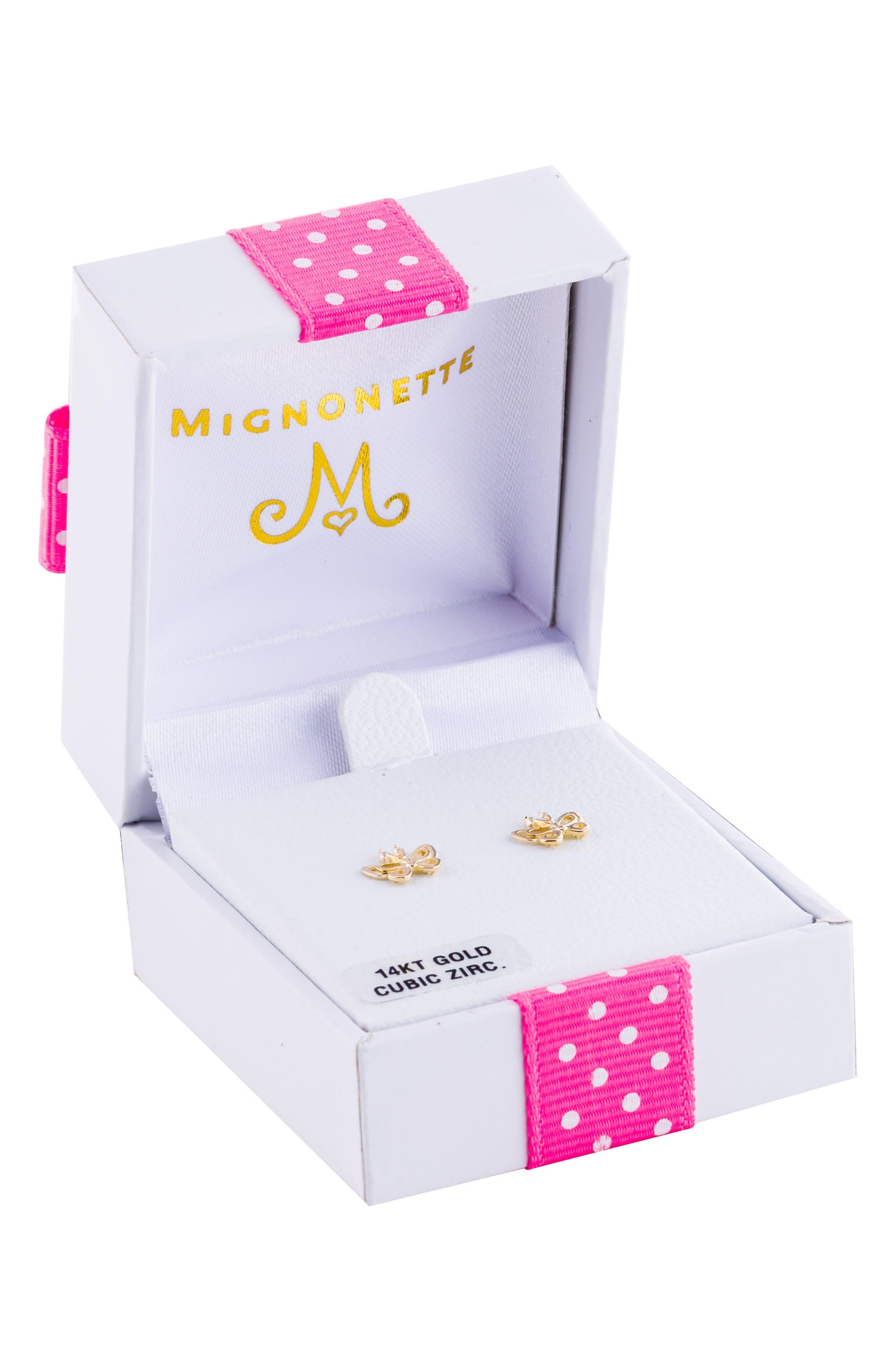 14k Gold Butterfly Earrings,                             Alternate thumbnail 3, color,                             GOLD