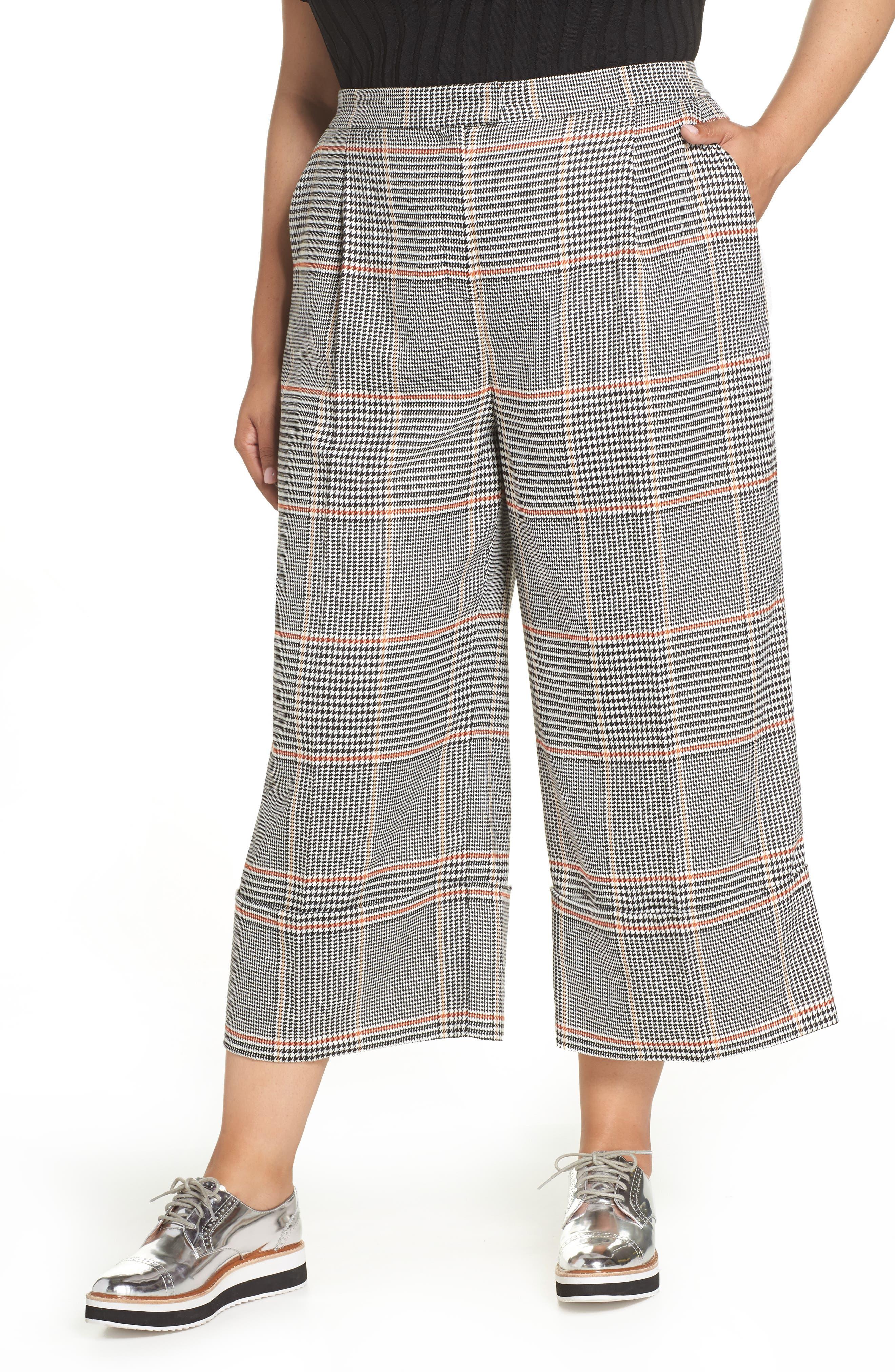 x Atlantic-Pacific Plaid Wide Leg Crop Pants,                         Main,                         color, BLACK PLAID