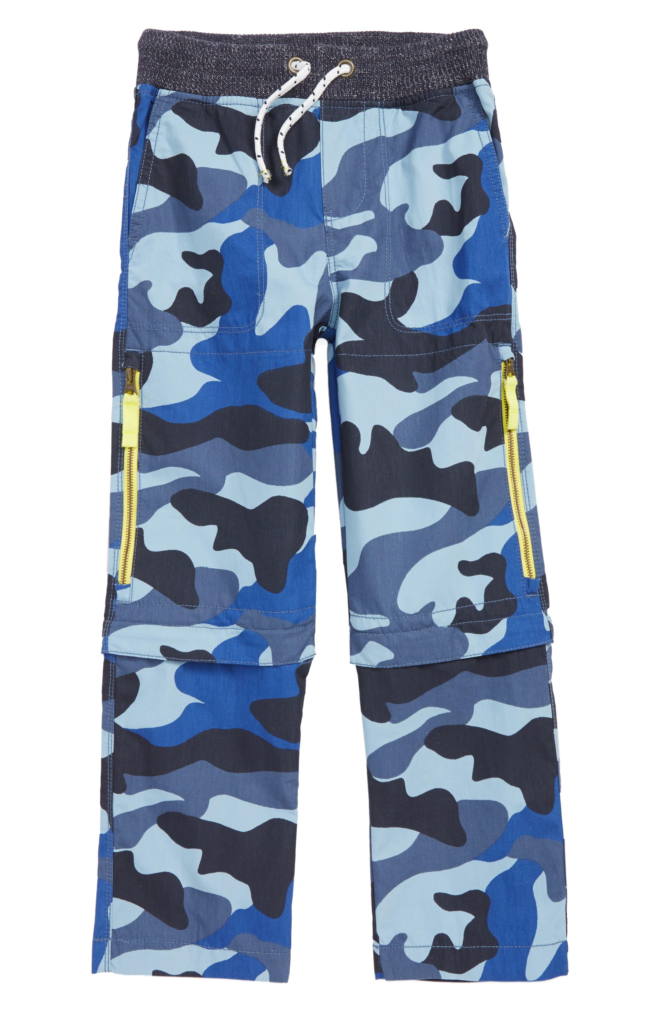 Techno Convertible Zip Off Pants, Main, color, COLLEGE BLUE CAMO