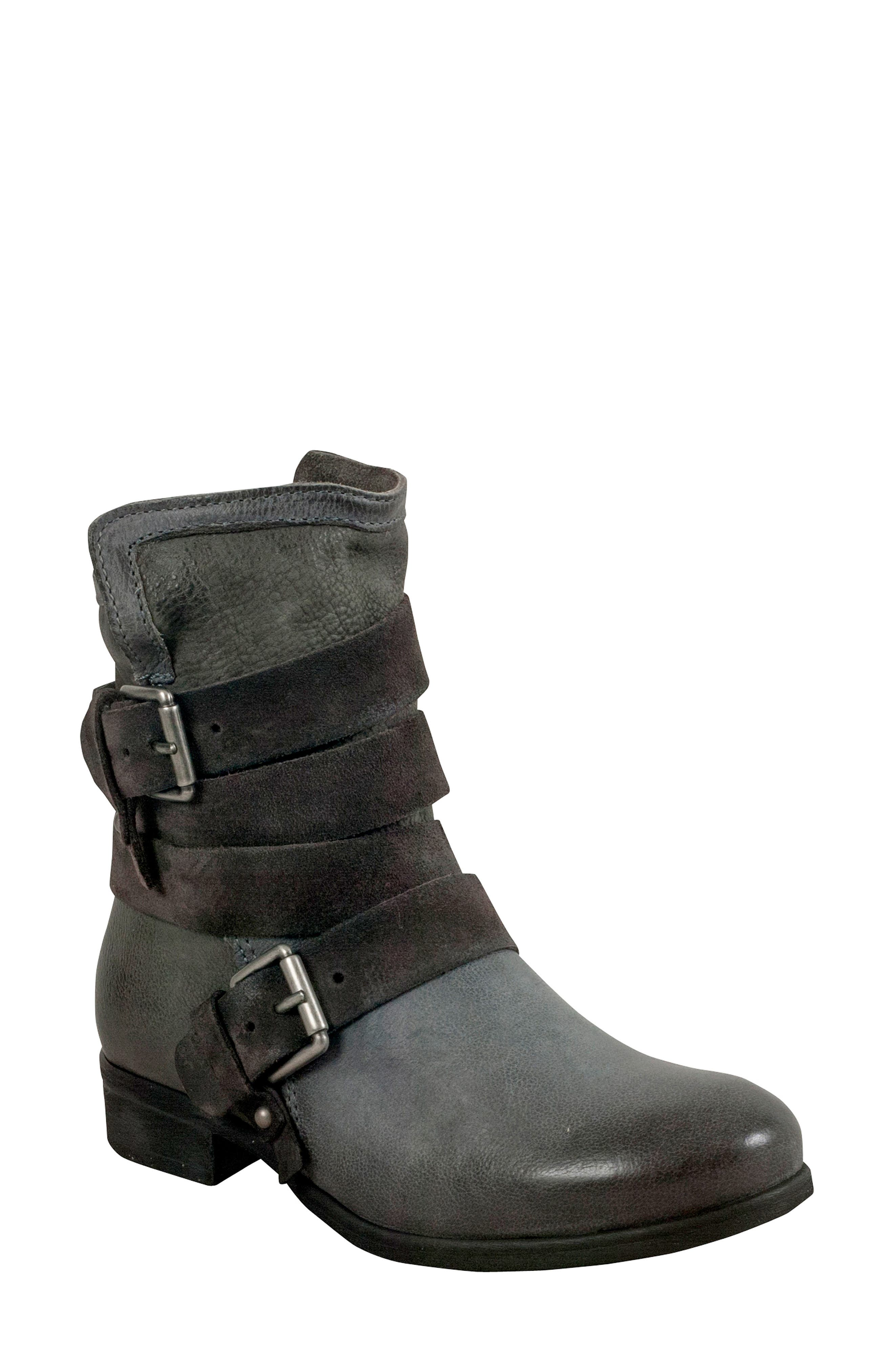 Savvy Buckle Bootie,                         Main,                         color, GRANITE LEATHER