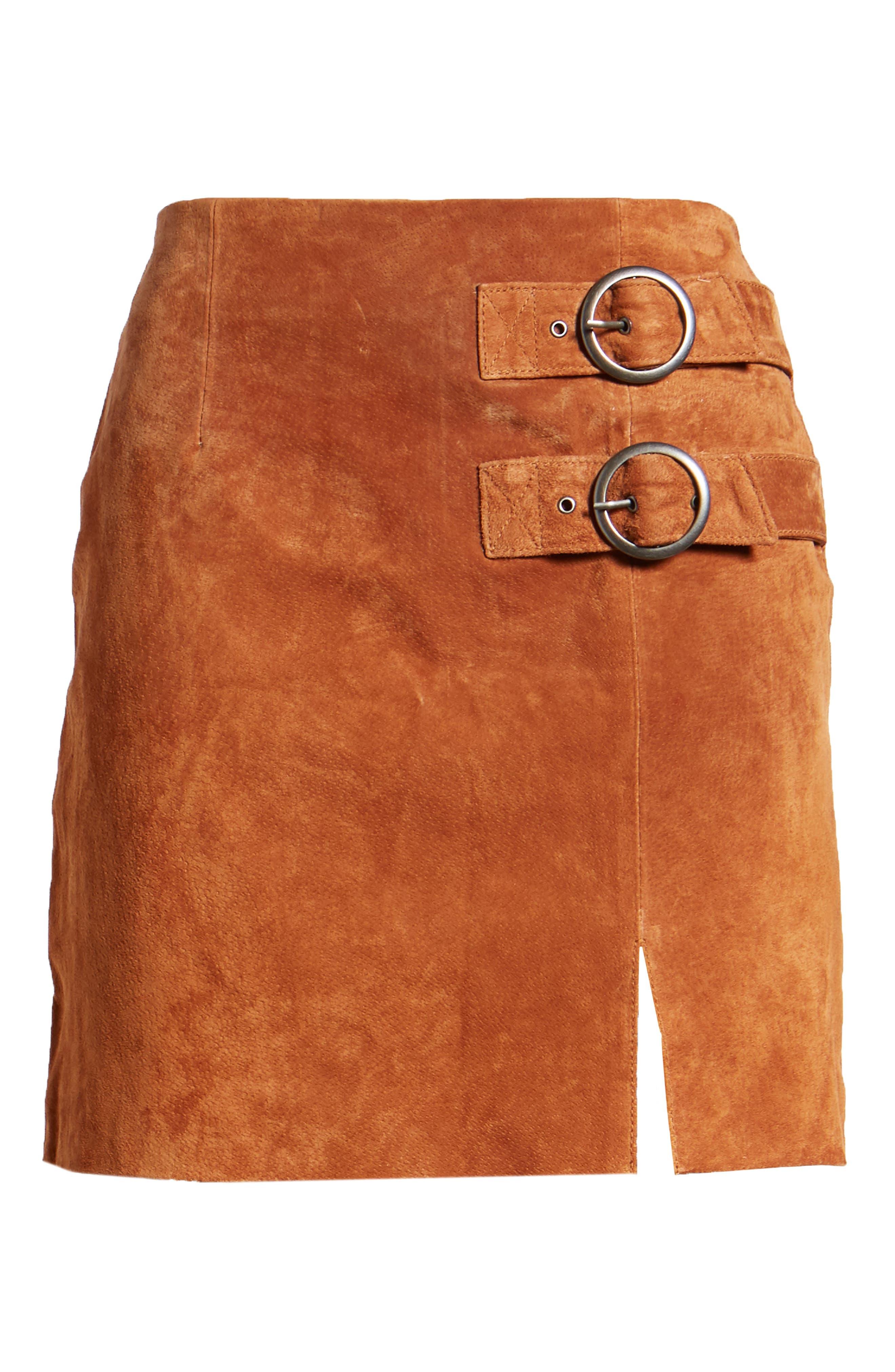 Double Buckle Suede Skirt,                             Alternate thumbnail 6, color,                             EL DORADO