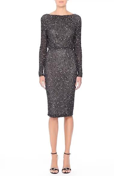 Viera Embellished V-Back Sheath Dress, video thumbnail