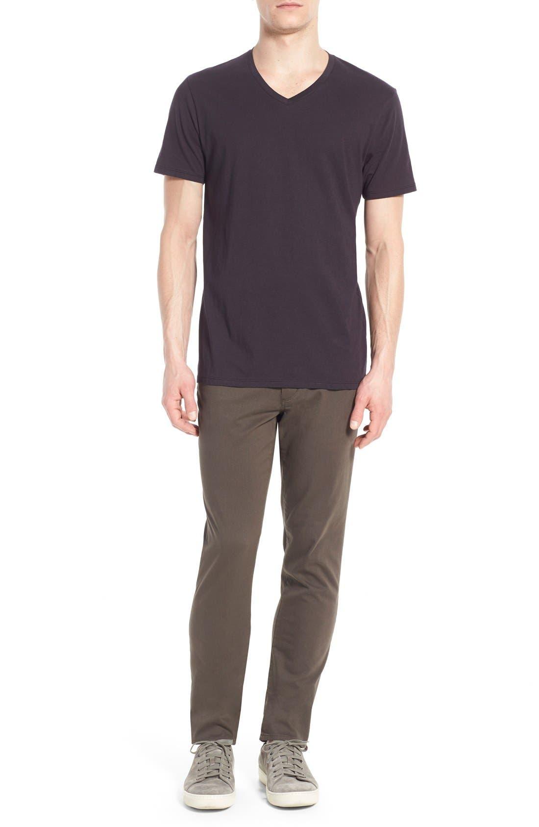 VINCE,                             Pima Cotton V-Neck T-Shirt,                             Alternate thumbnail 7, color,                             BLACK