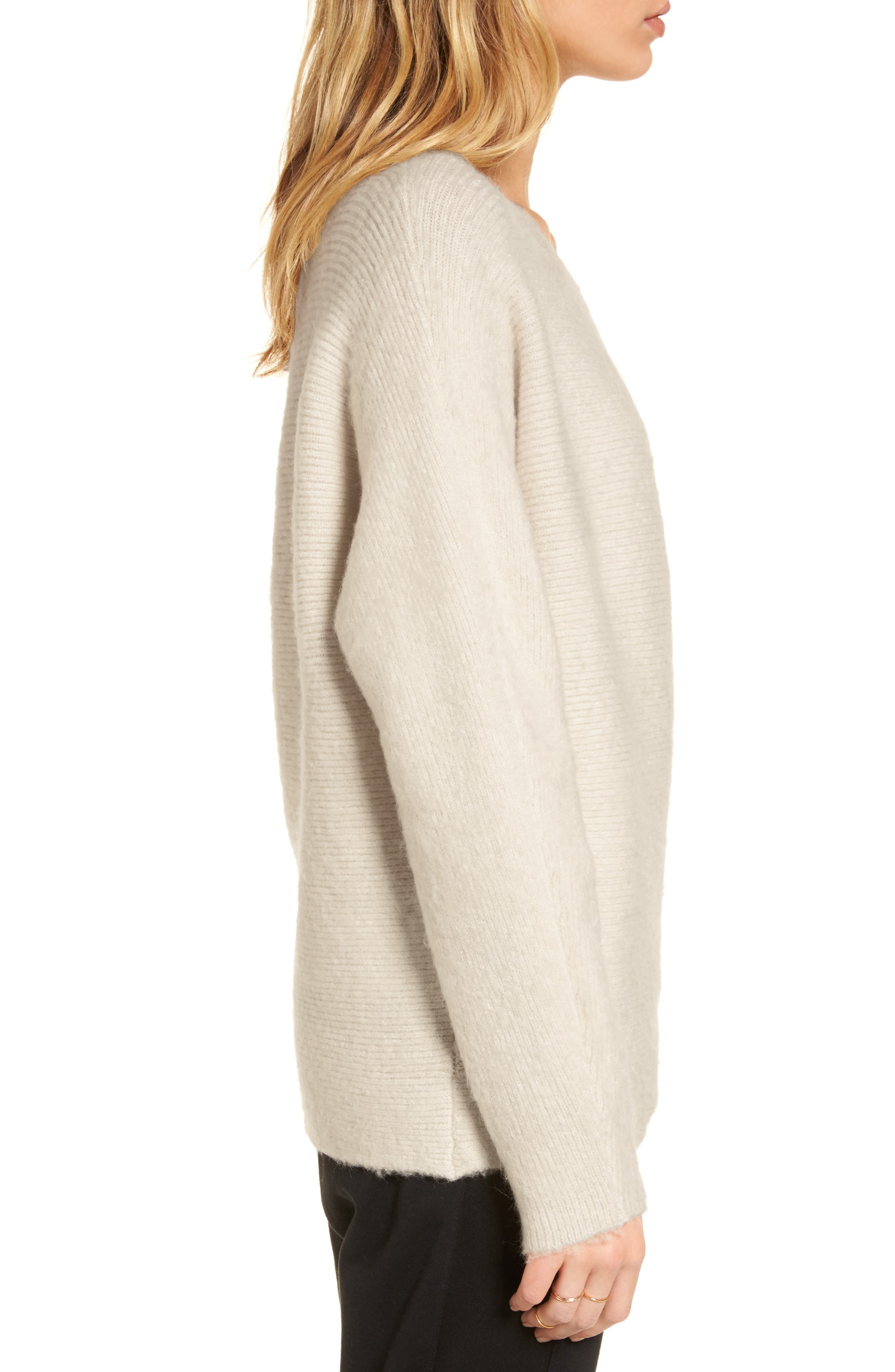 TREASURE & BOND,                             One-Shoulder Ribbed Sweater,                             Alternate thumbnail 3, color,                             BEIGE OATMEAL LIGHT HEATHER