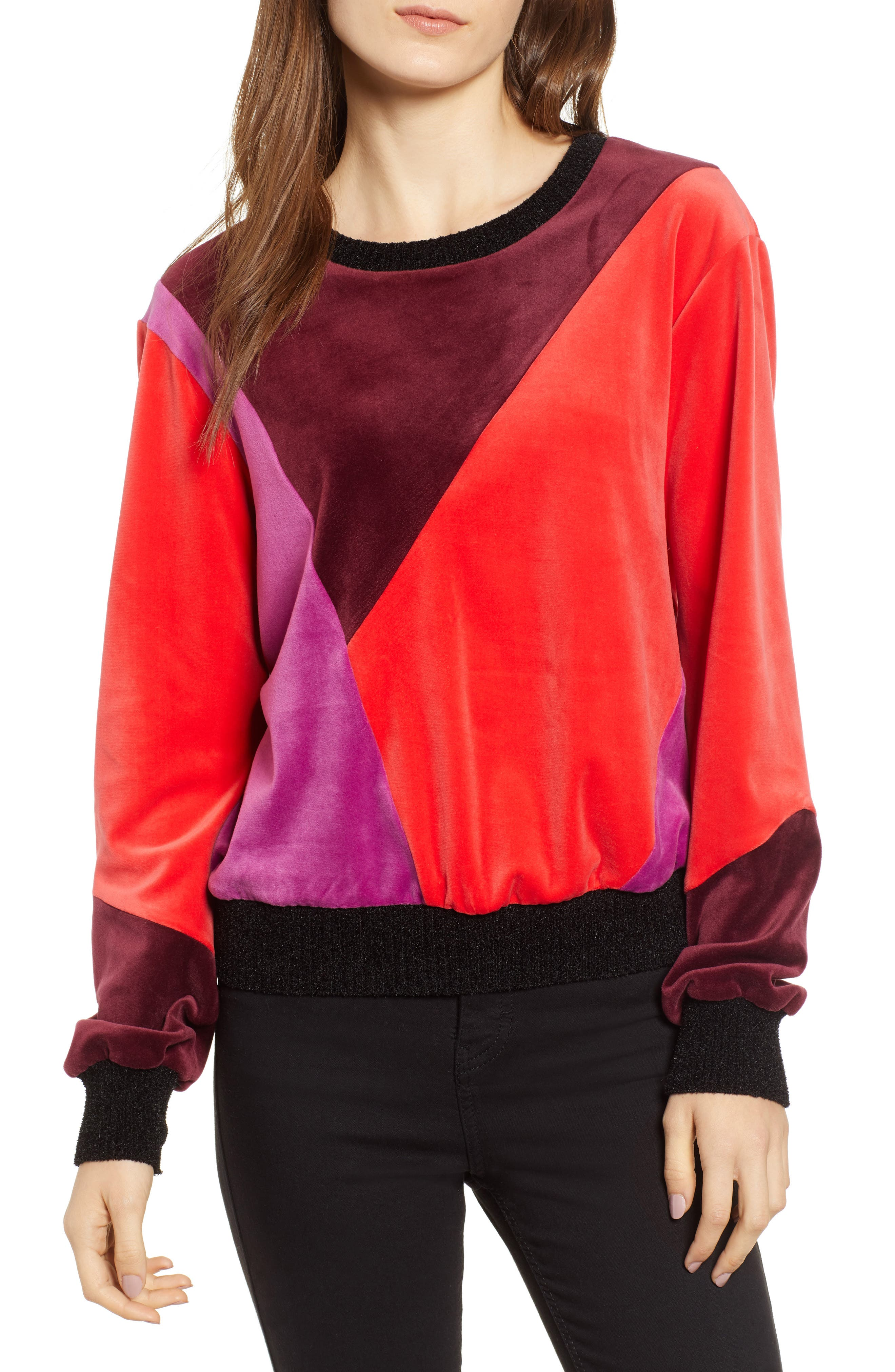 Velluto Sweatshirt, Main, color, BORGONA