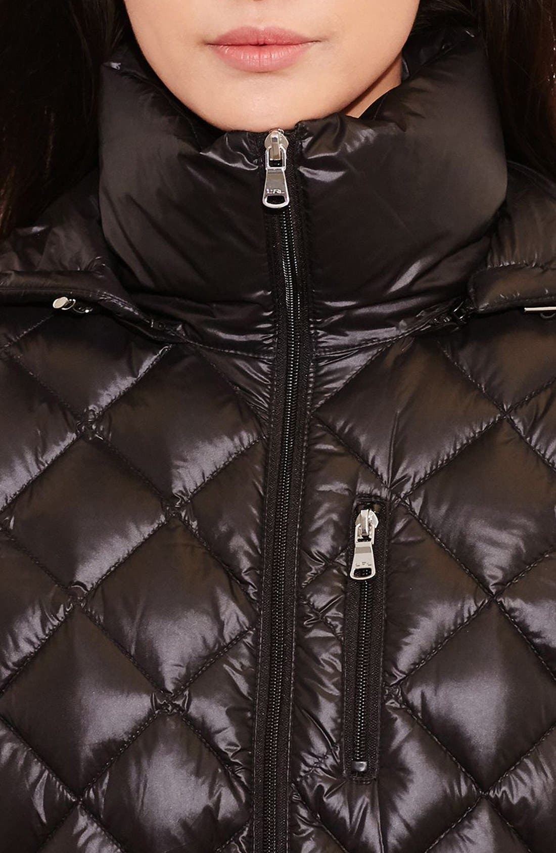 Packable Quilted Down Coat,                             Alternate thumbnail 4, color,                             BLACK