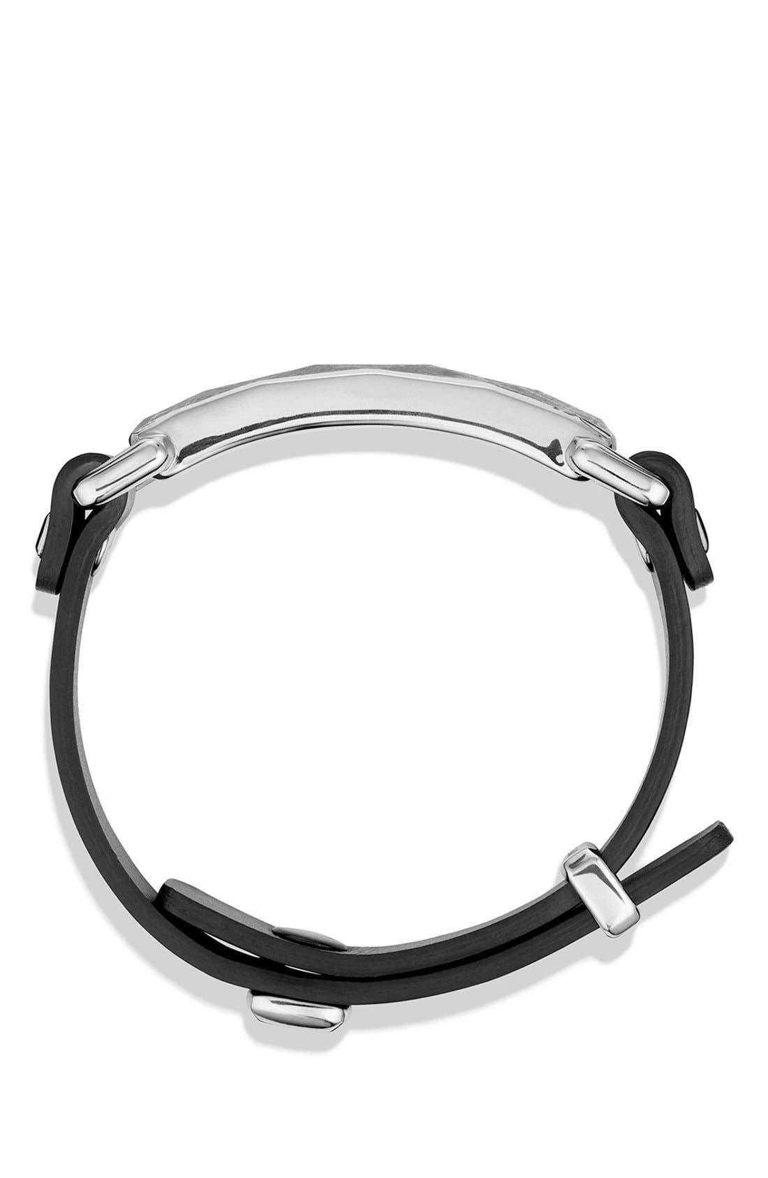 'Meteorite' Leather ID Bracelet in Black,                             Alternate thumbnail 2, color,