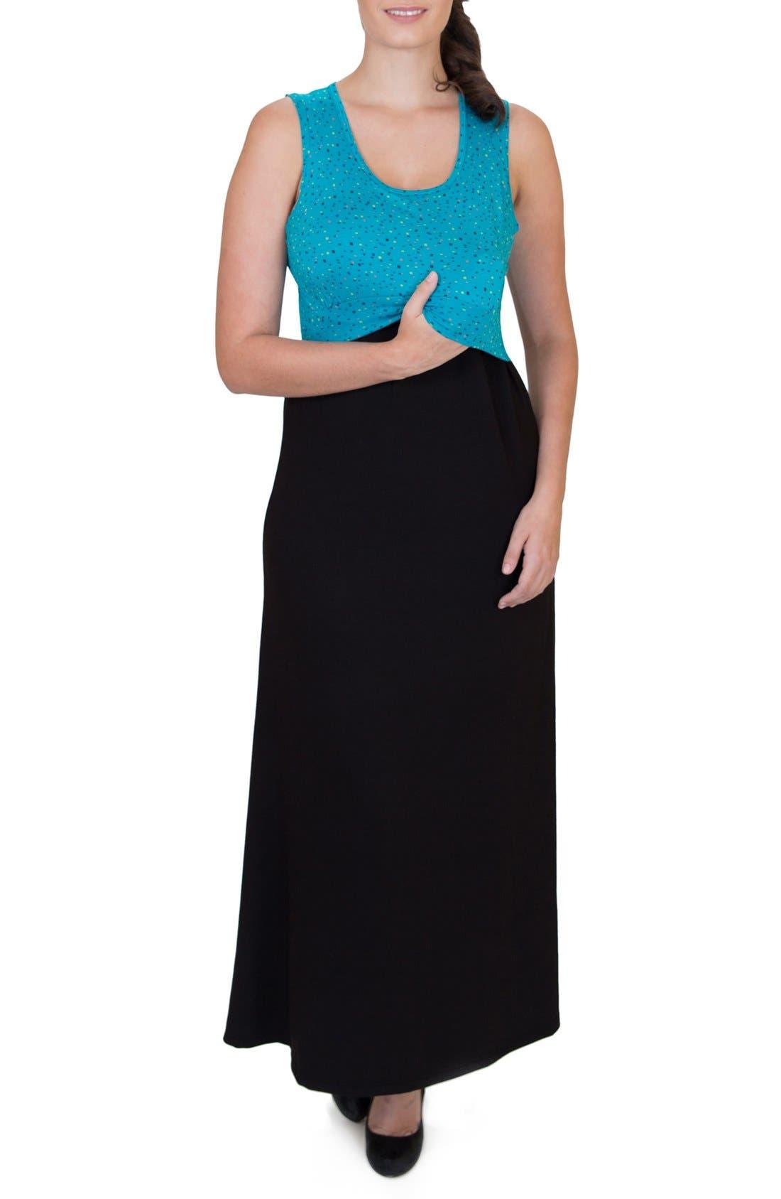 'Mariana' Maternity/Nursing Maxi Dress,                             Alternate thumbnail 4, color,                             DOTS TOP W/ BLACK SKIRT