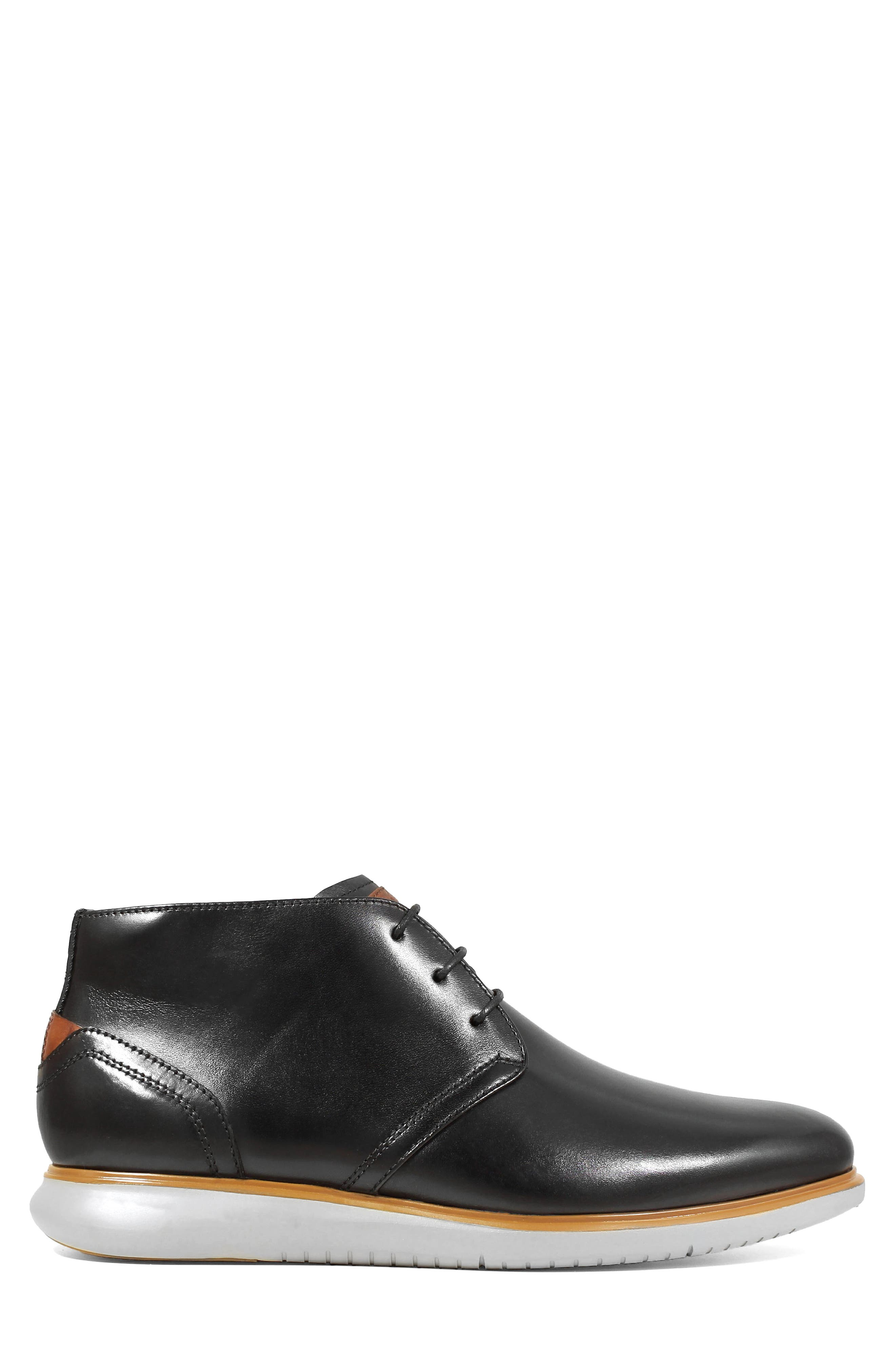 FLORSHEIM,                             Fuel Chukka Boot,                             Alternate thumbnail 3, color,                             BLACK LEATHER