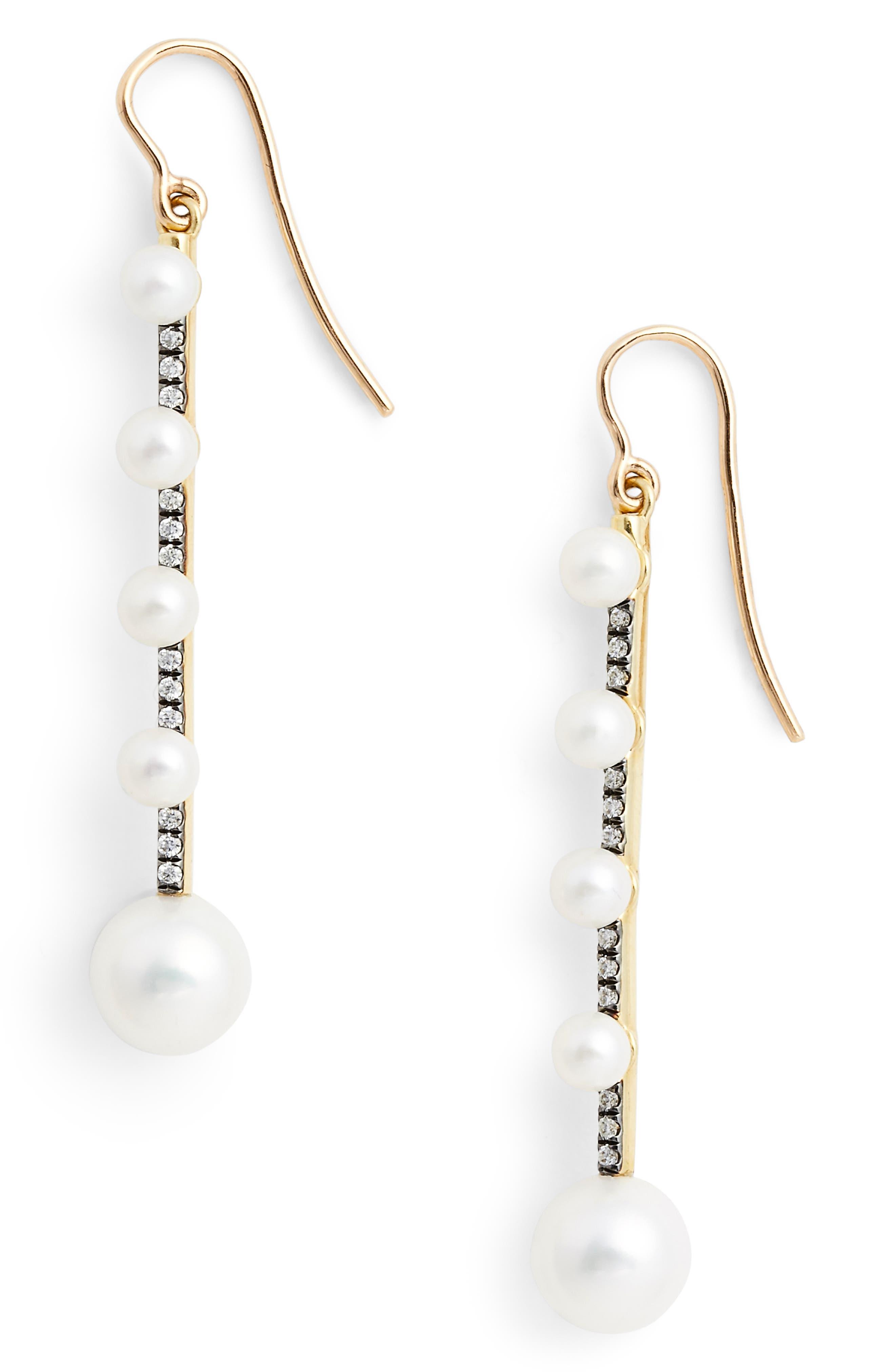 Prive Pearl & Diamond Drop Earrings,                         Main,                         color, WHT PRL/DMND/BLK RHDM
