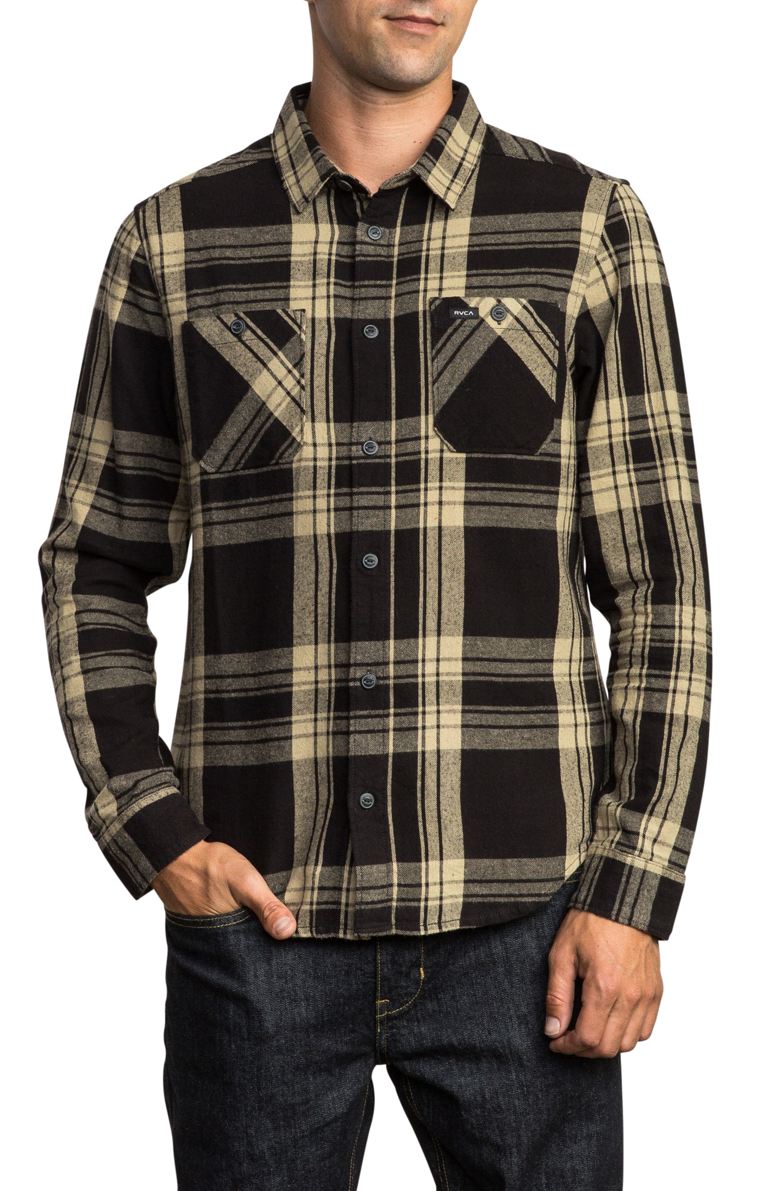 Wanted Flannel Shirt,                         Main,                         color, RVCA BLACK