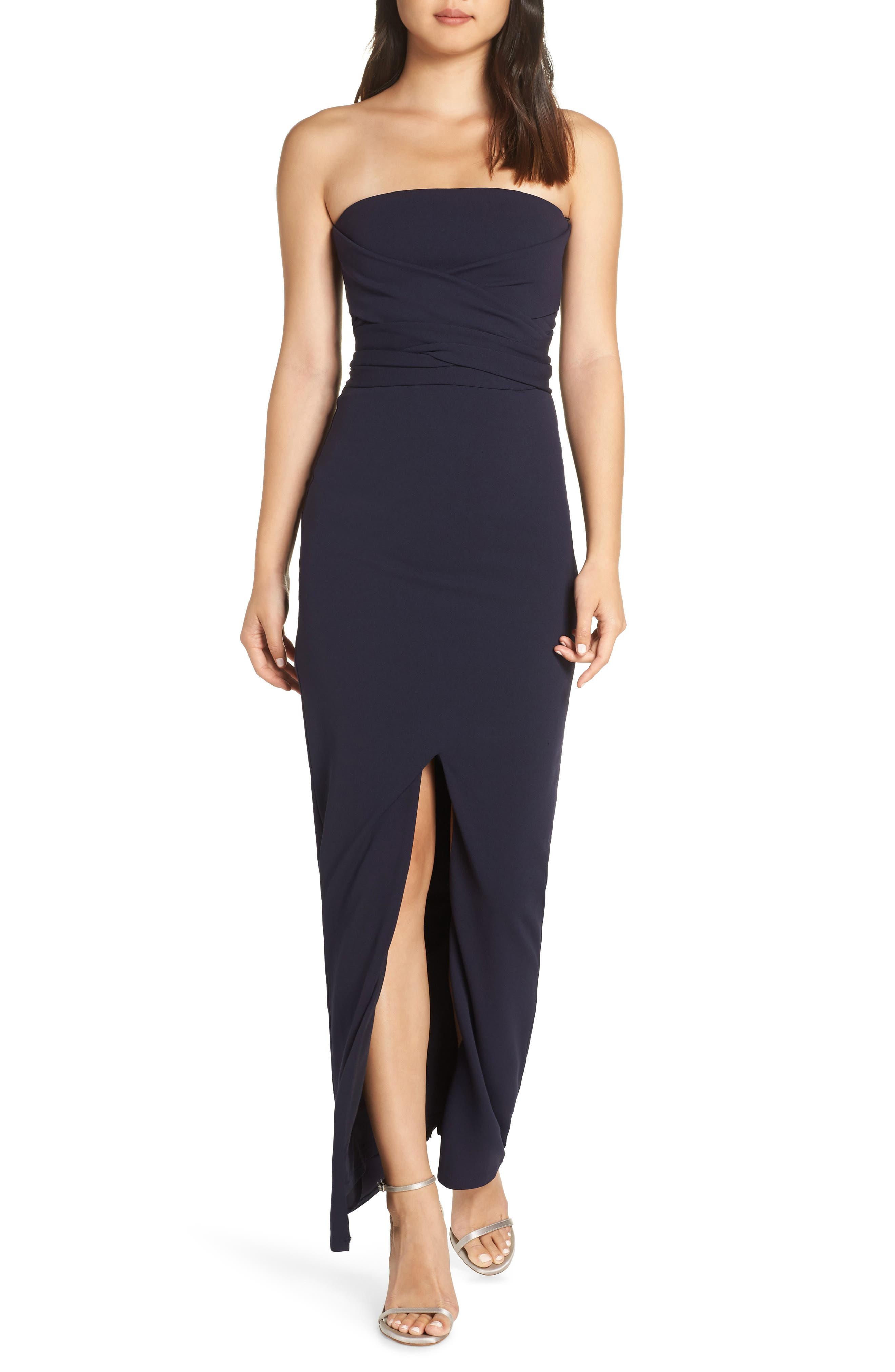 Lulus Own The Night Strapless Maxi Dress, Blue