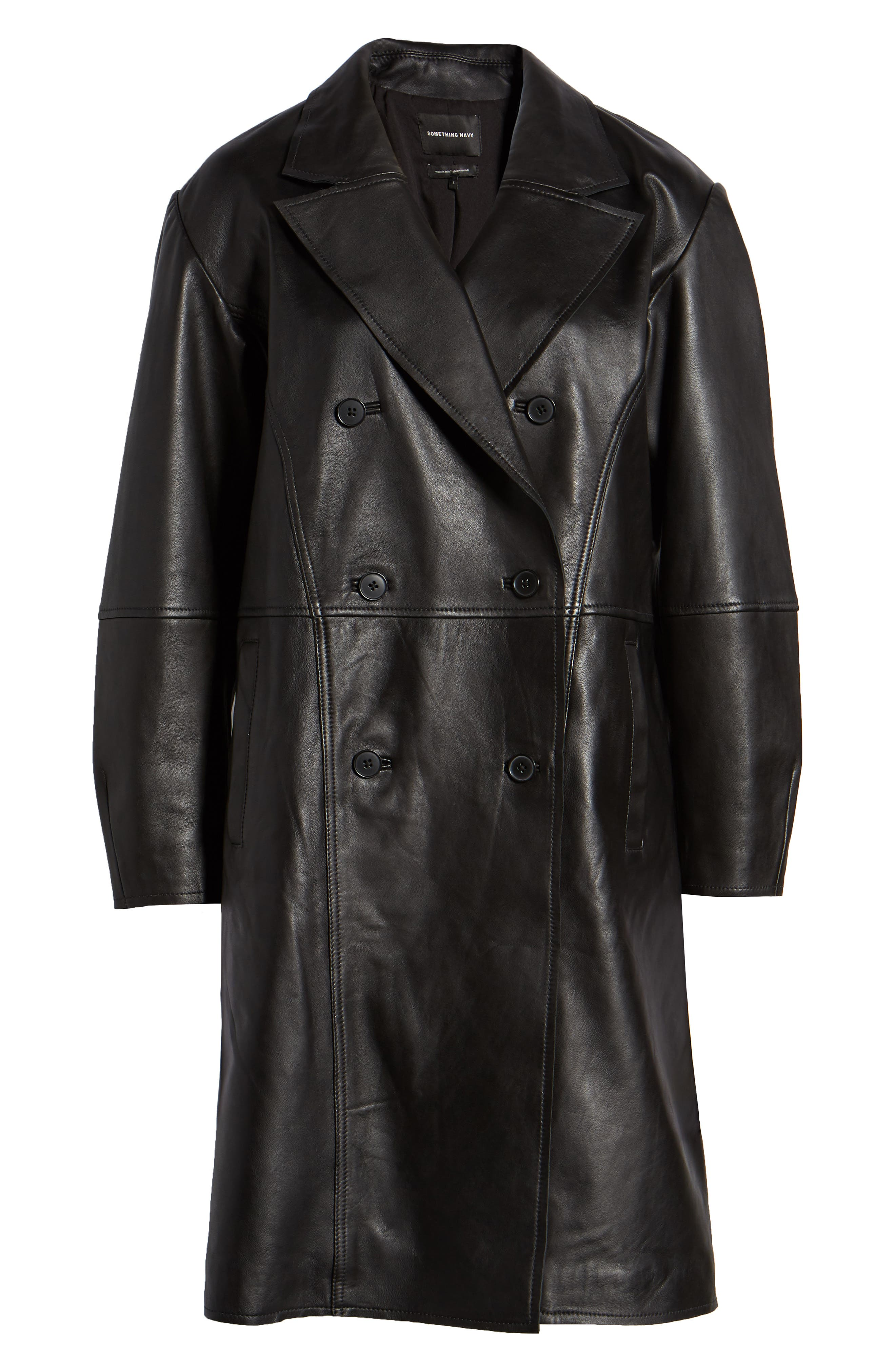 Double Breasted Leather Coat,                             Alternate thumbnail 6, color,                             BLACK