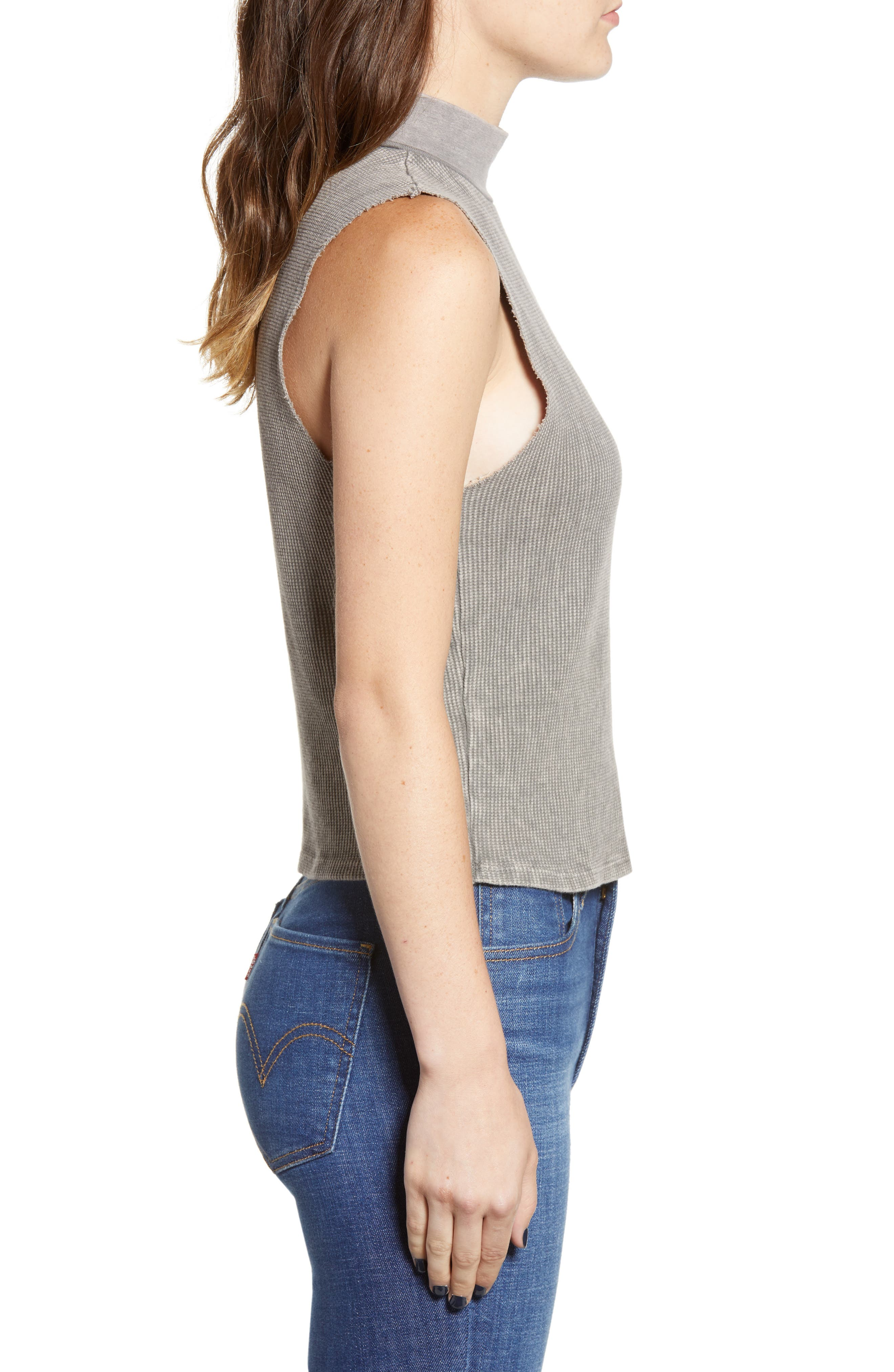 Annie Thermal Sleeveless Mock Neck Top,                             Alternate thumbnail 3, color,                             014