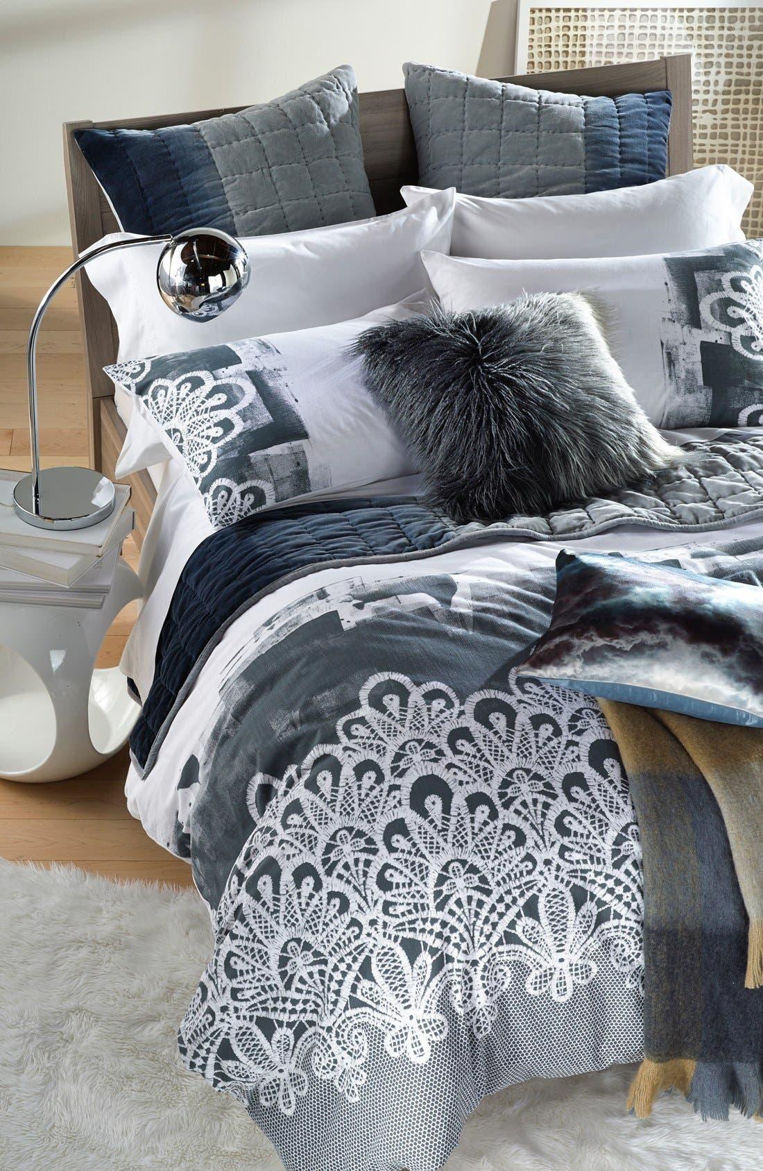 Ombré Faux Fur Flokati Accent Pillow,                             Alternate thumbnail 6, color,