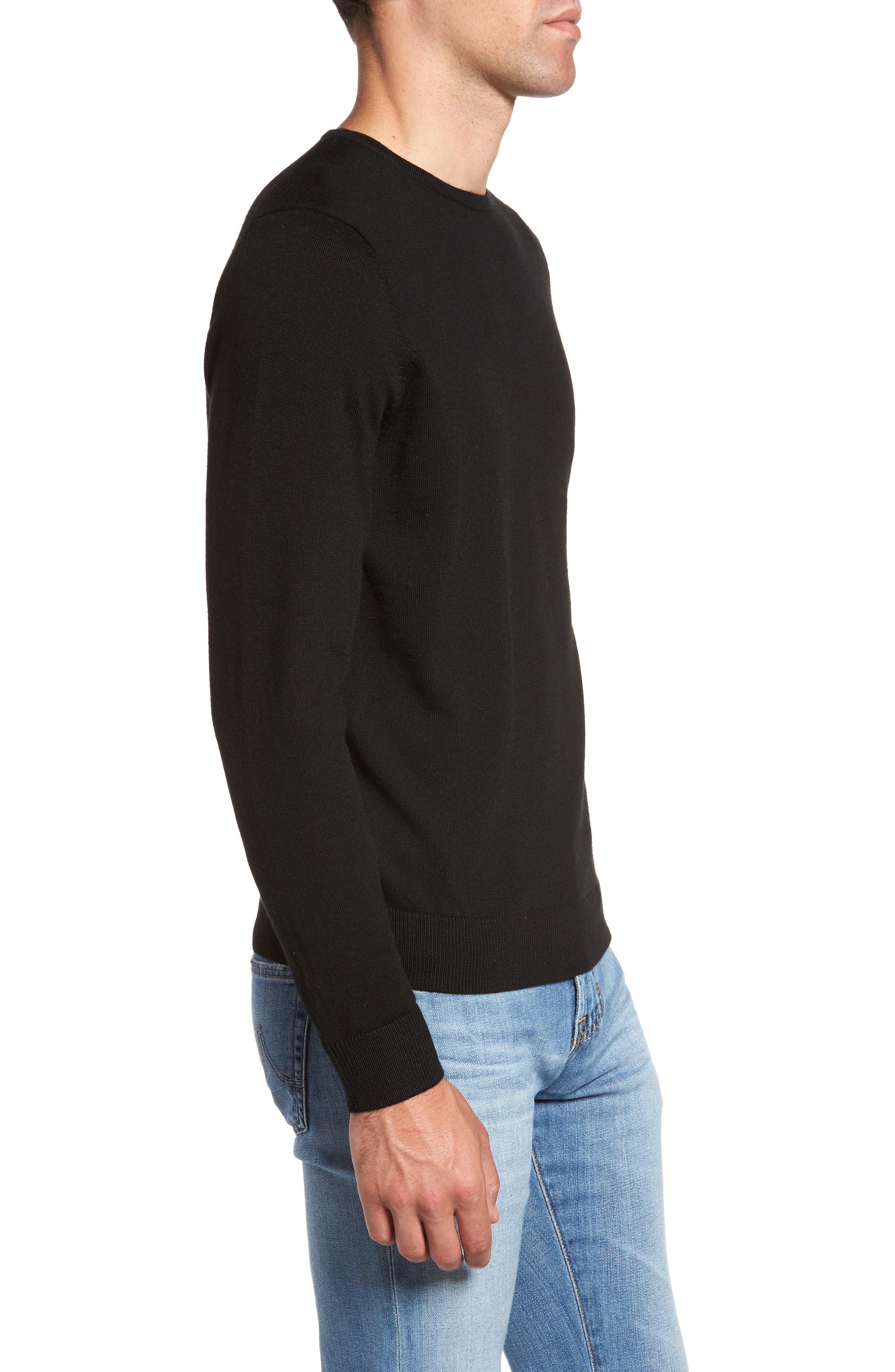 Crewneck Merino Wool Sweater,                             Alternate thumbnail 3, color,                             BLACK CAVIAR