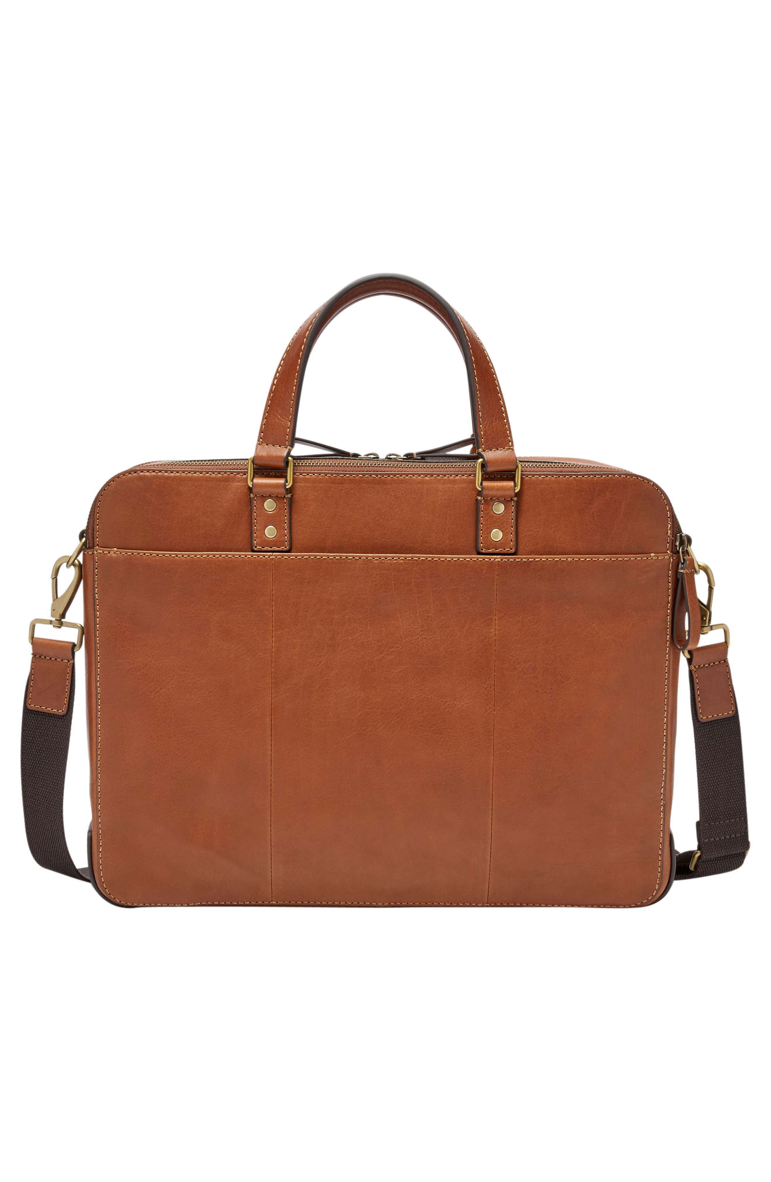 Defender Leather Briefcase,                             Alternate thumbnail 2, color,                             COGNAC
