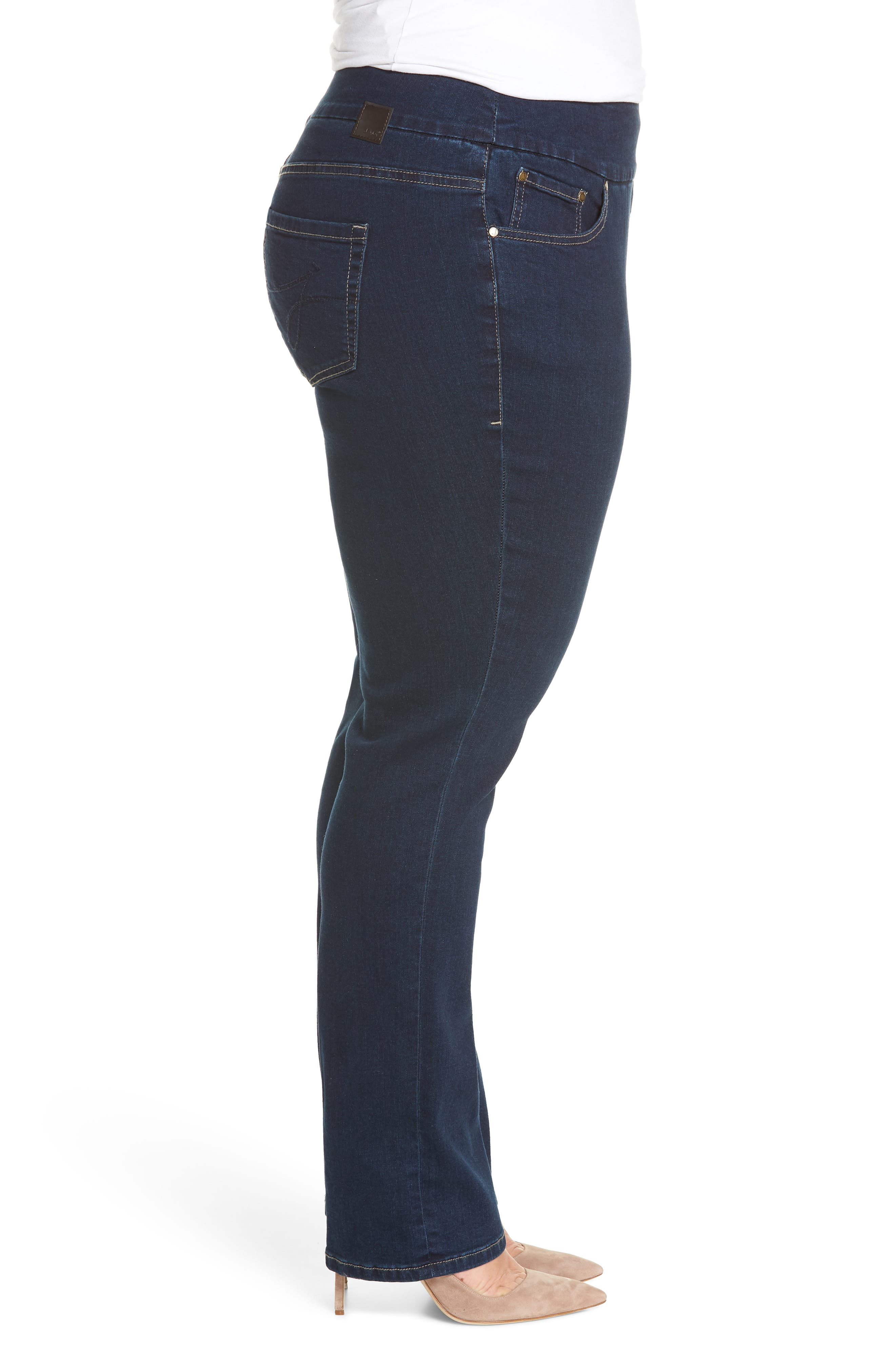 Paley Pull-On Bootcut Jeans,                             Alternate thumbnail 3, color,                             MED INDIGO