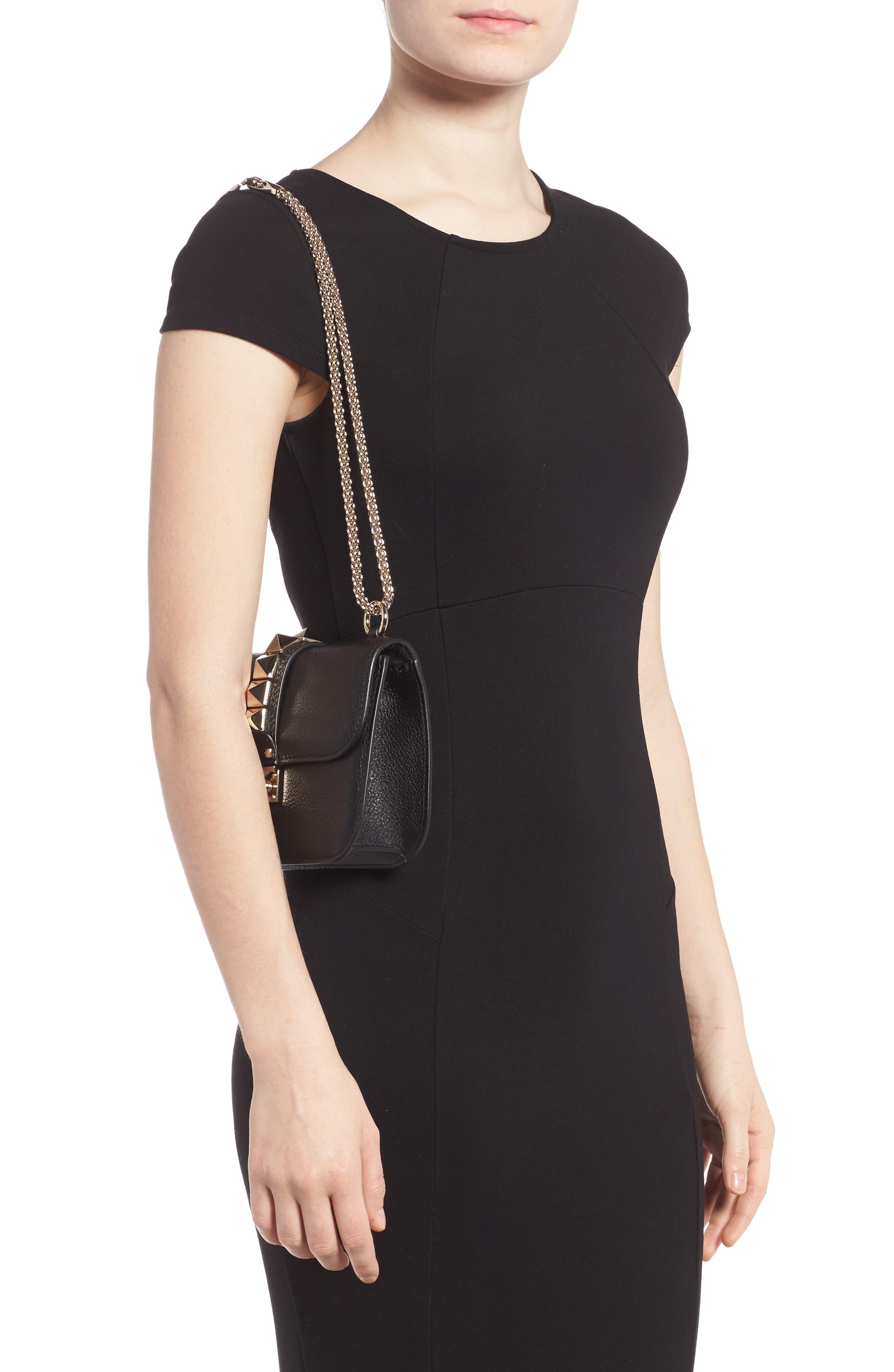 Rockstud - Small Lock Leather Crossbody Bag,                             Alternate thumbnail 2, color,                             NERO
