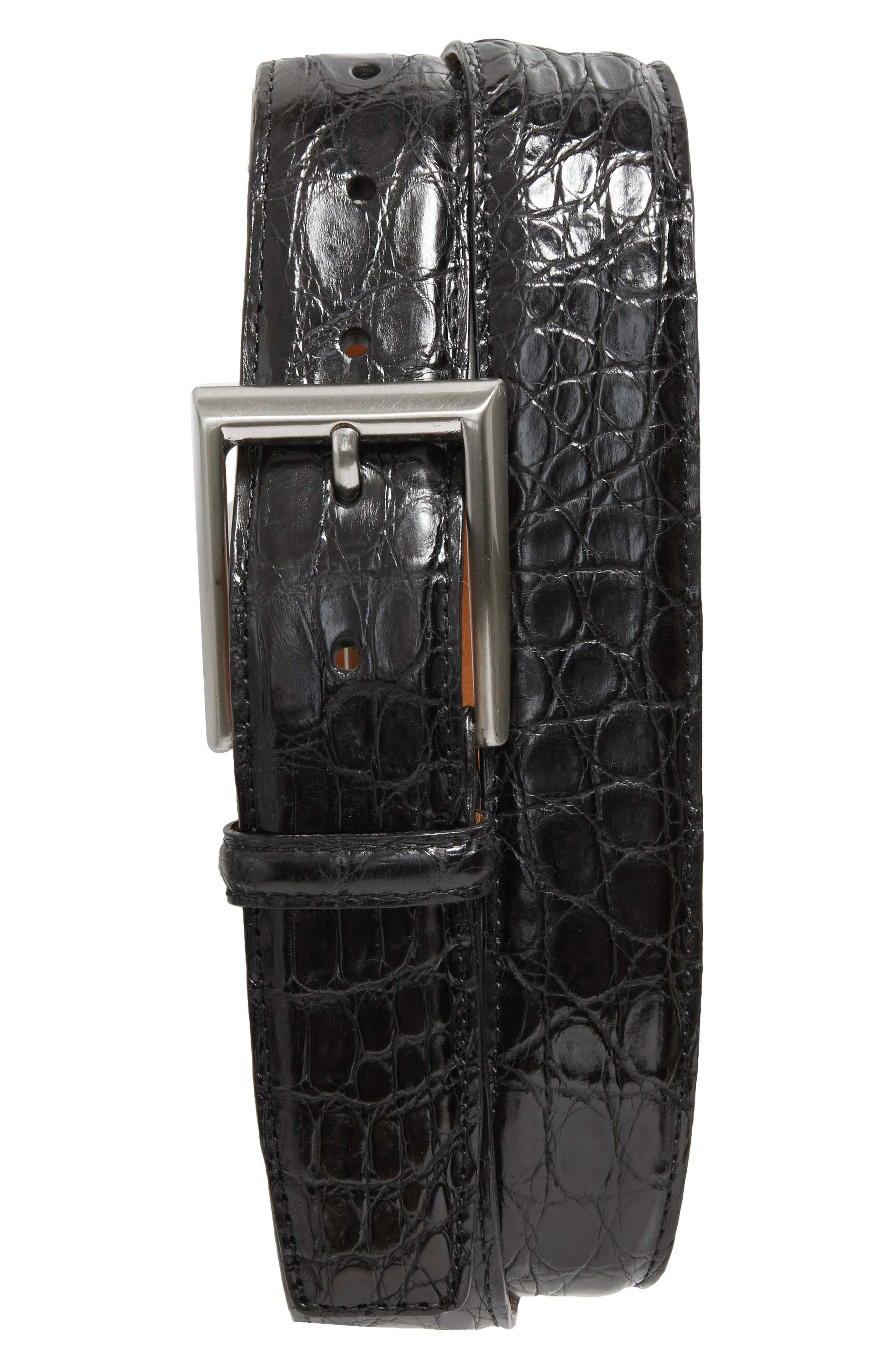 Crocodile Leather Belt,                         Main,                         color, BLACK