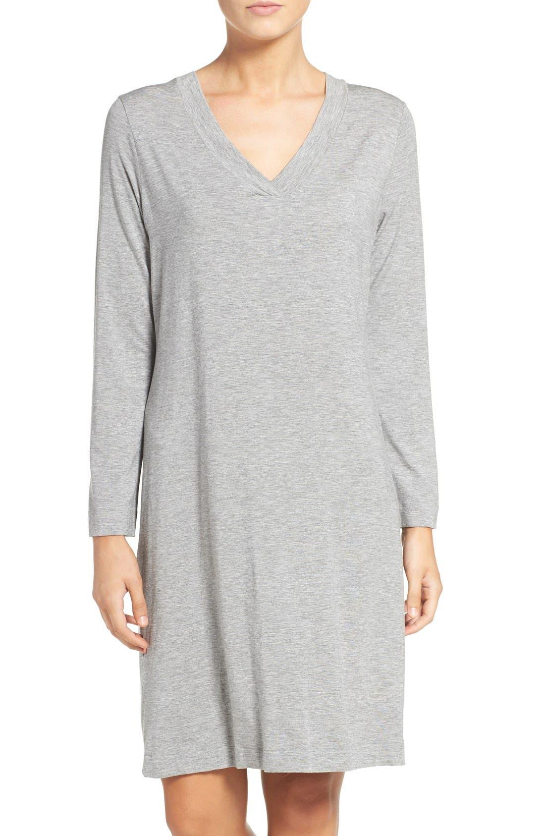 Long Sleeve Knit Nightgown,                             Main thumbnail 1, color,                             025