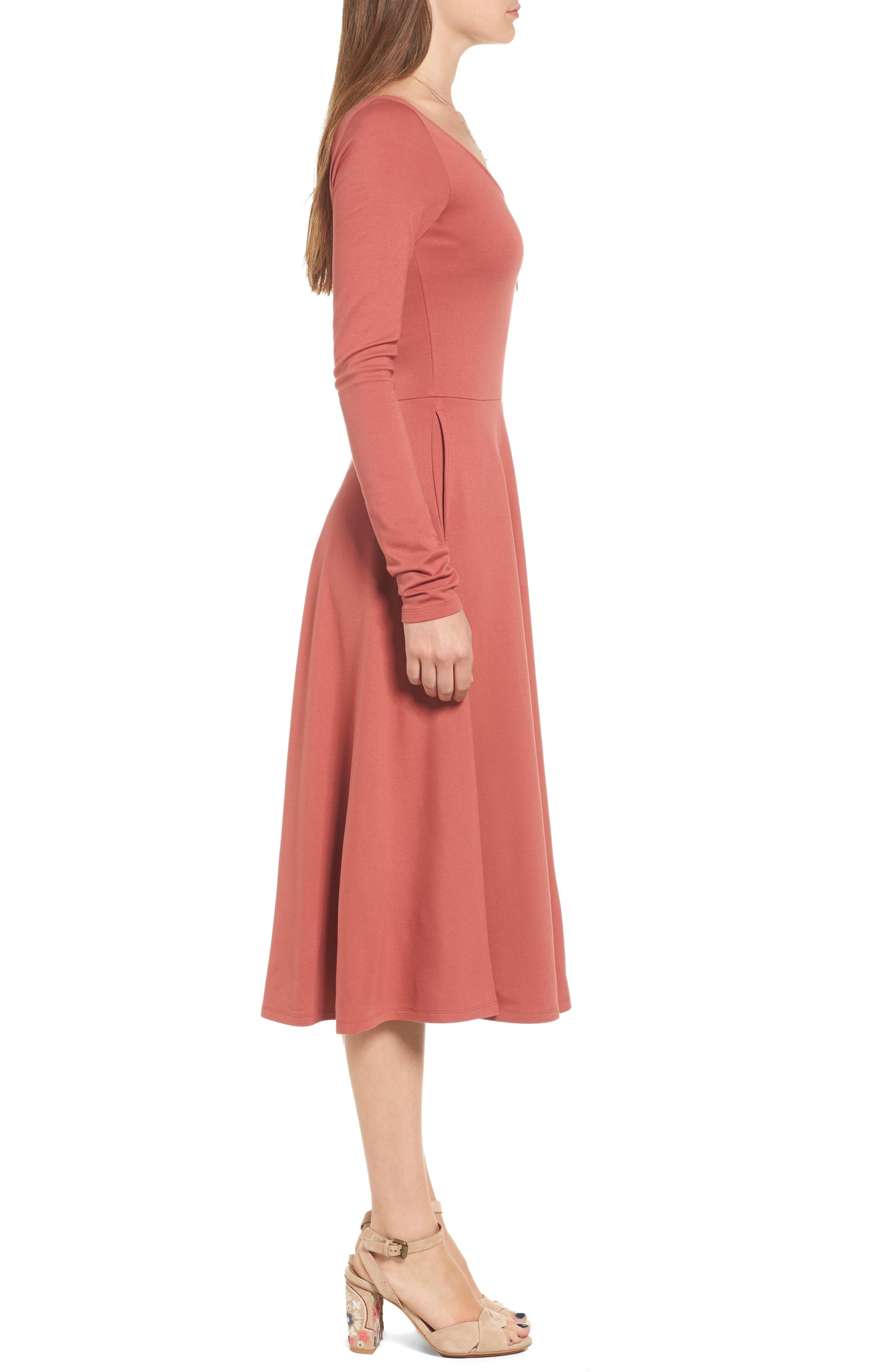 Long Sleeve Midi Dress,                             Alternate thumbnail 3, color,                             221