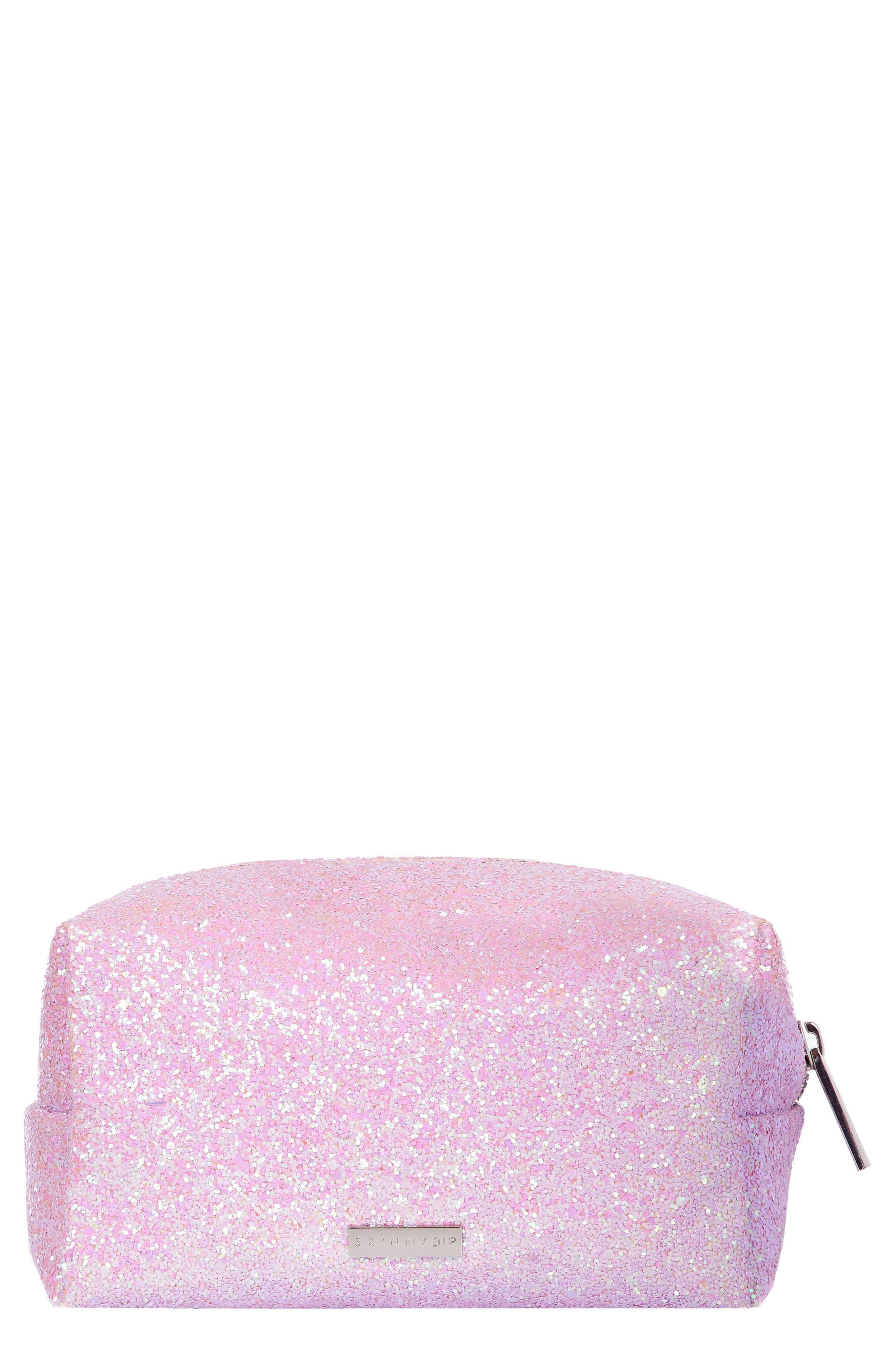 Skinny Dip Pink Glitsy Cosmetics Case,                             Main thumbnail 1, color,                             NO COLOR