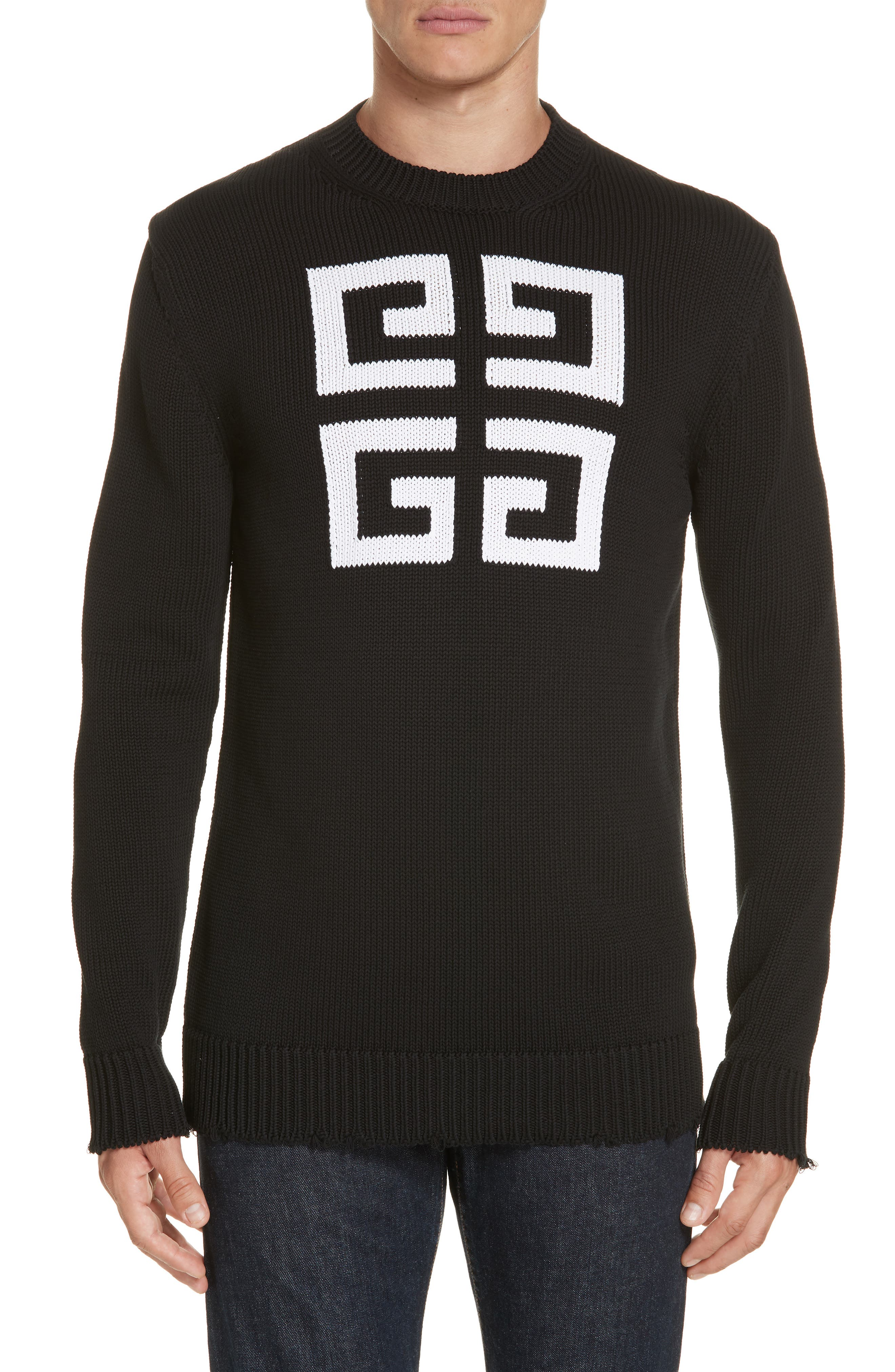 Logo Cotton Sweater,                             Main thumbnail 1, color,                             BLACK/ WHITE