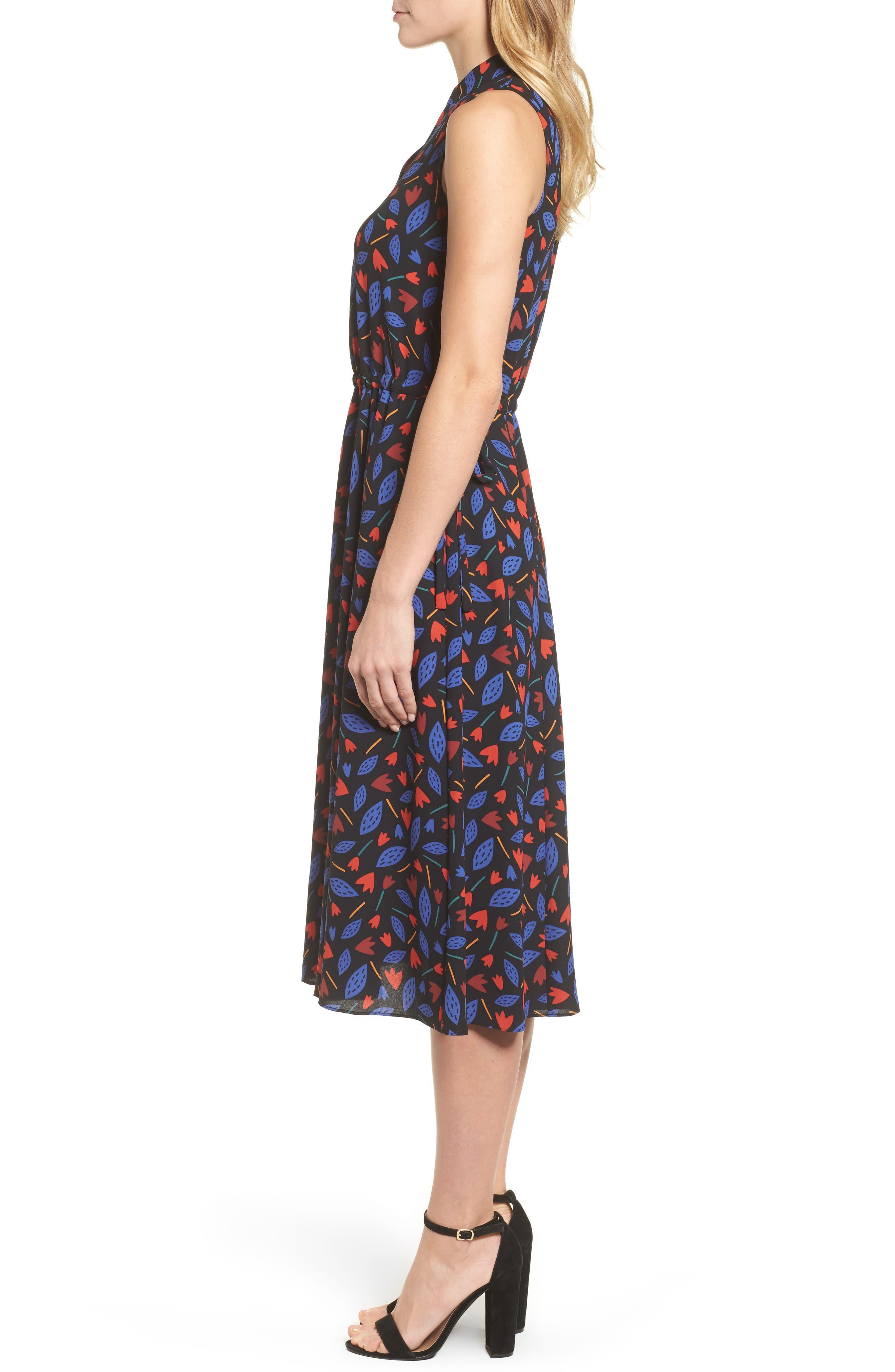 Print Drawstring Midi Dress,                             Alternate thumbnail 3, color,